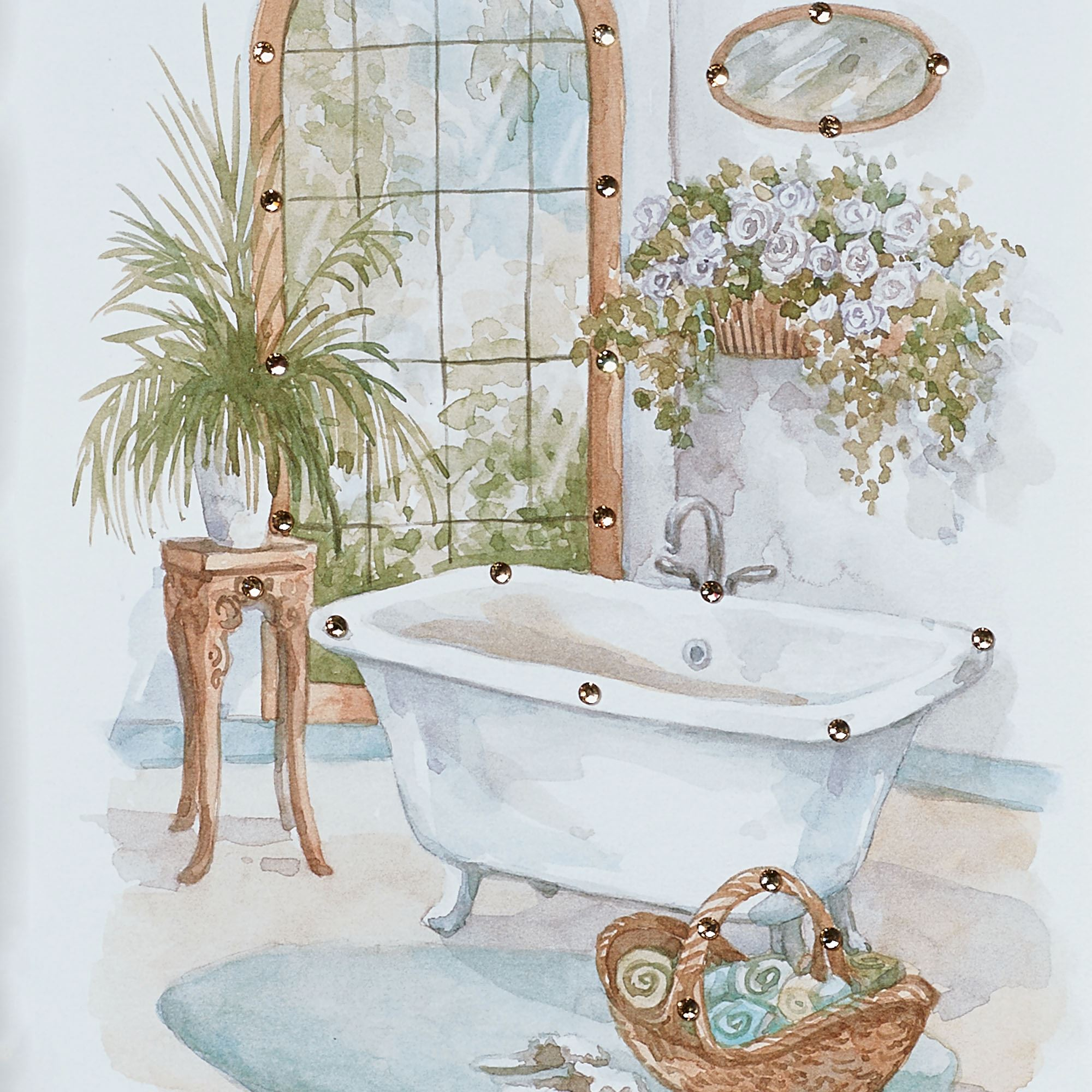 Watercolor Bath in Spa Framed Wall Art