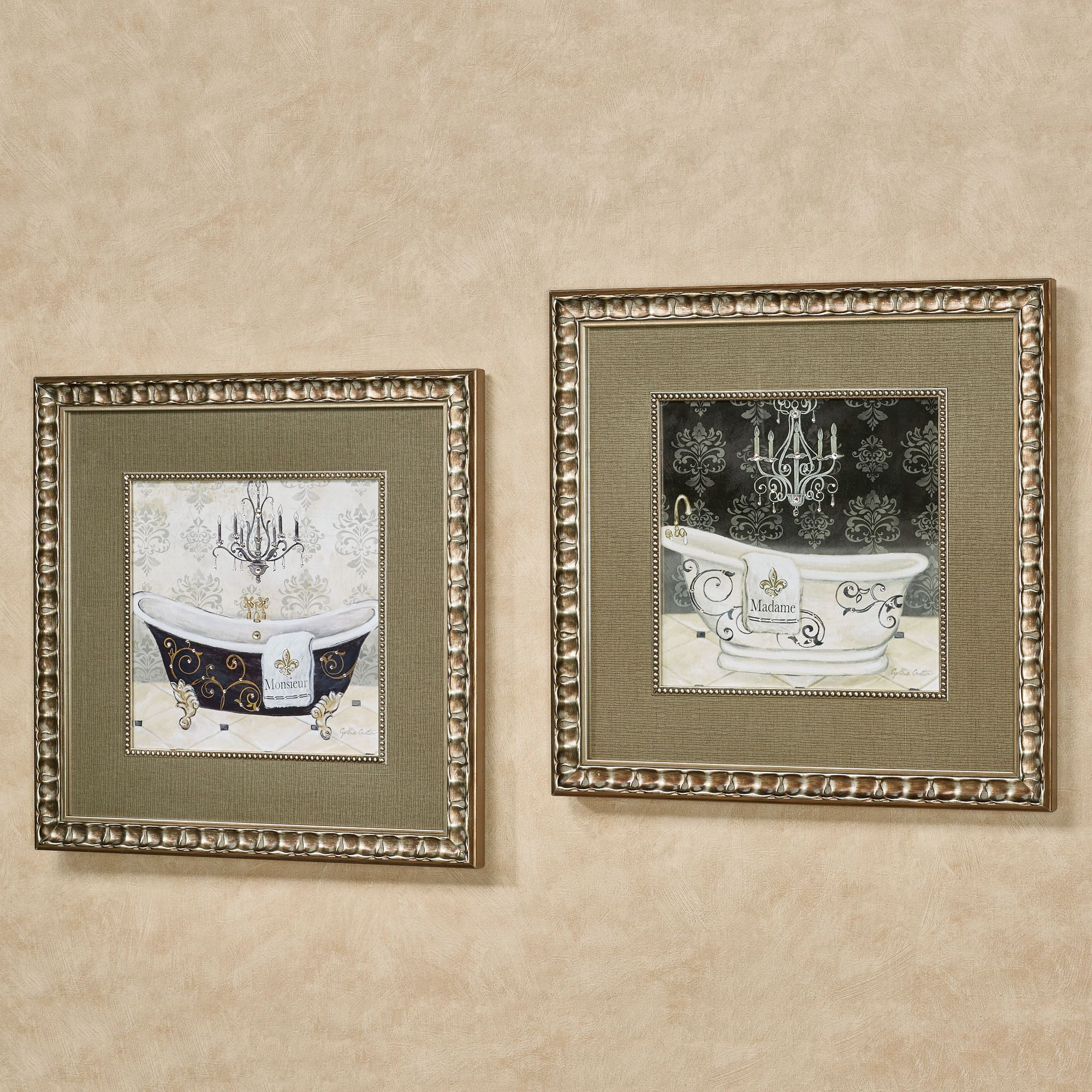 His And Hers Tub Framed Bathroom Wall Art