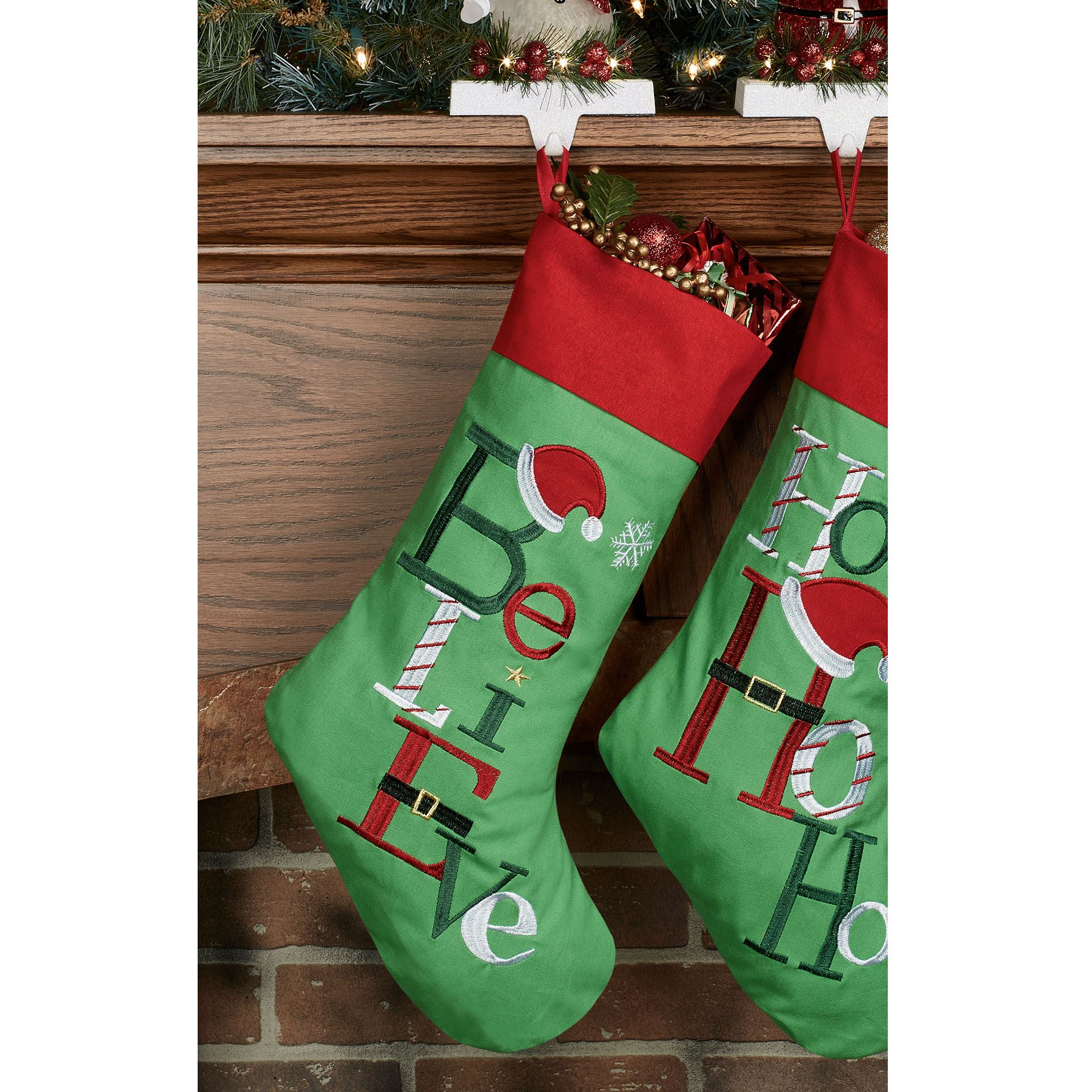 believe christmas stocking green - Embroidered Christmas Stocking