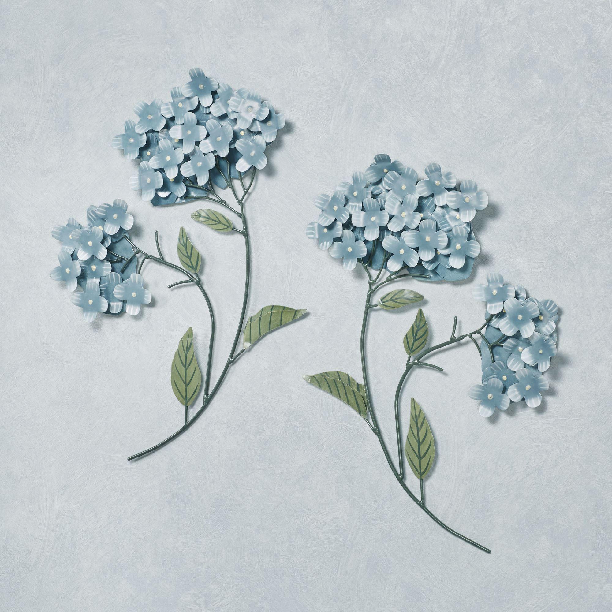 Blue Hydrangea Floral Metal Wall Sculpture Set