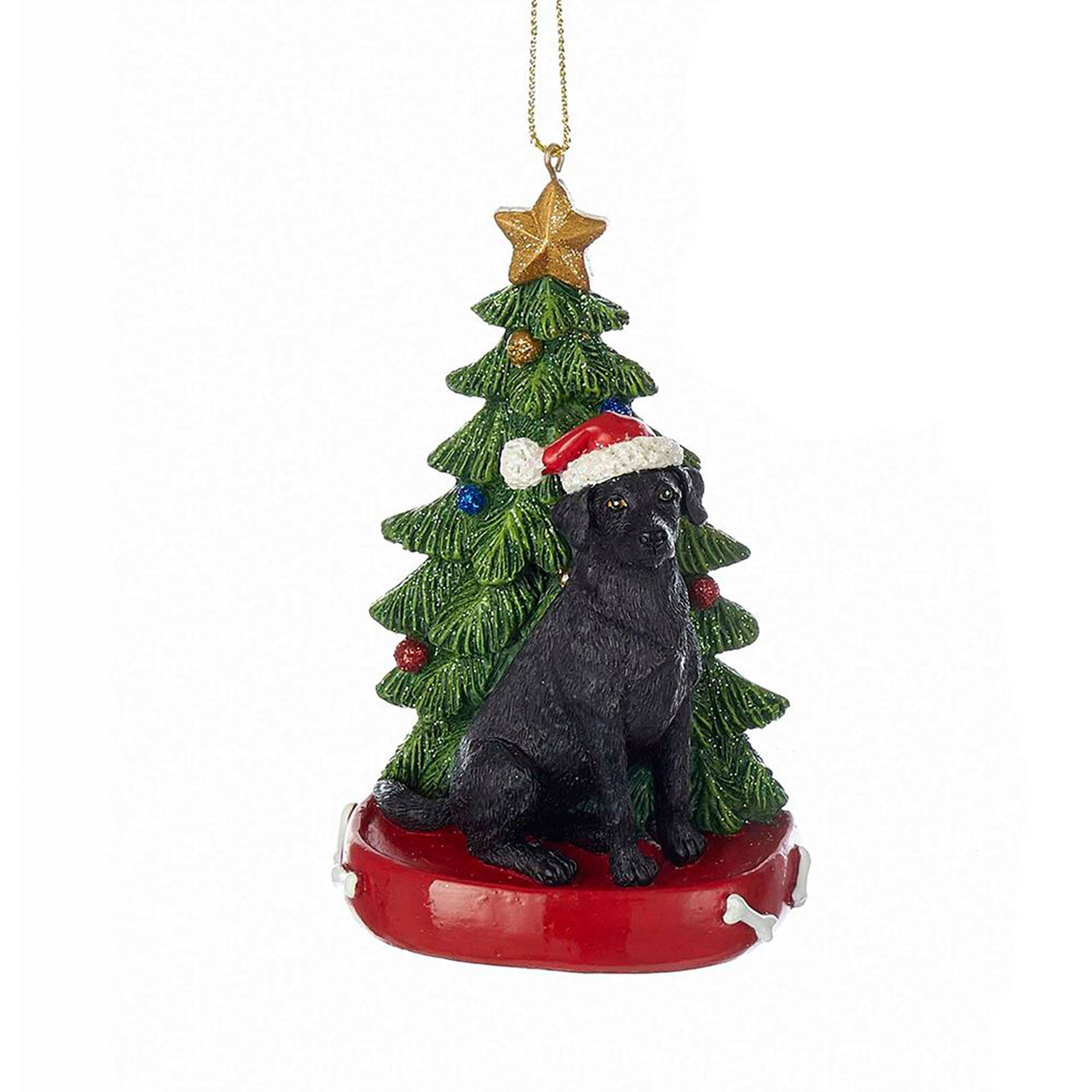 Black Lab Christmas Ornament Multi Warm