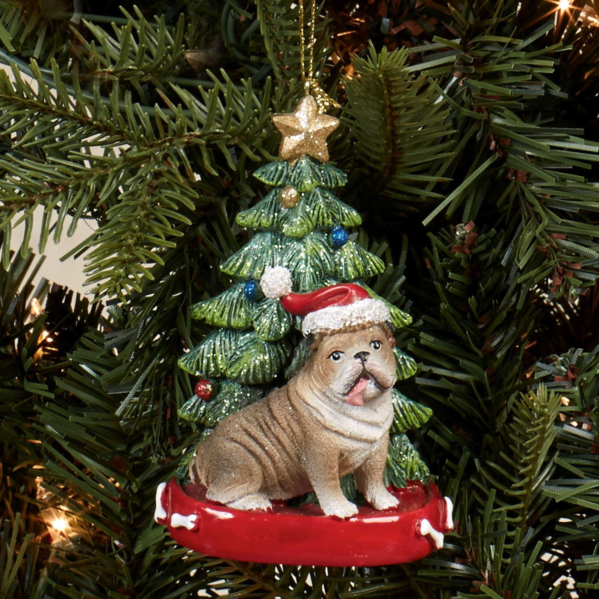 bulldog christmas ornament multi warm