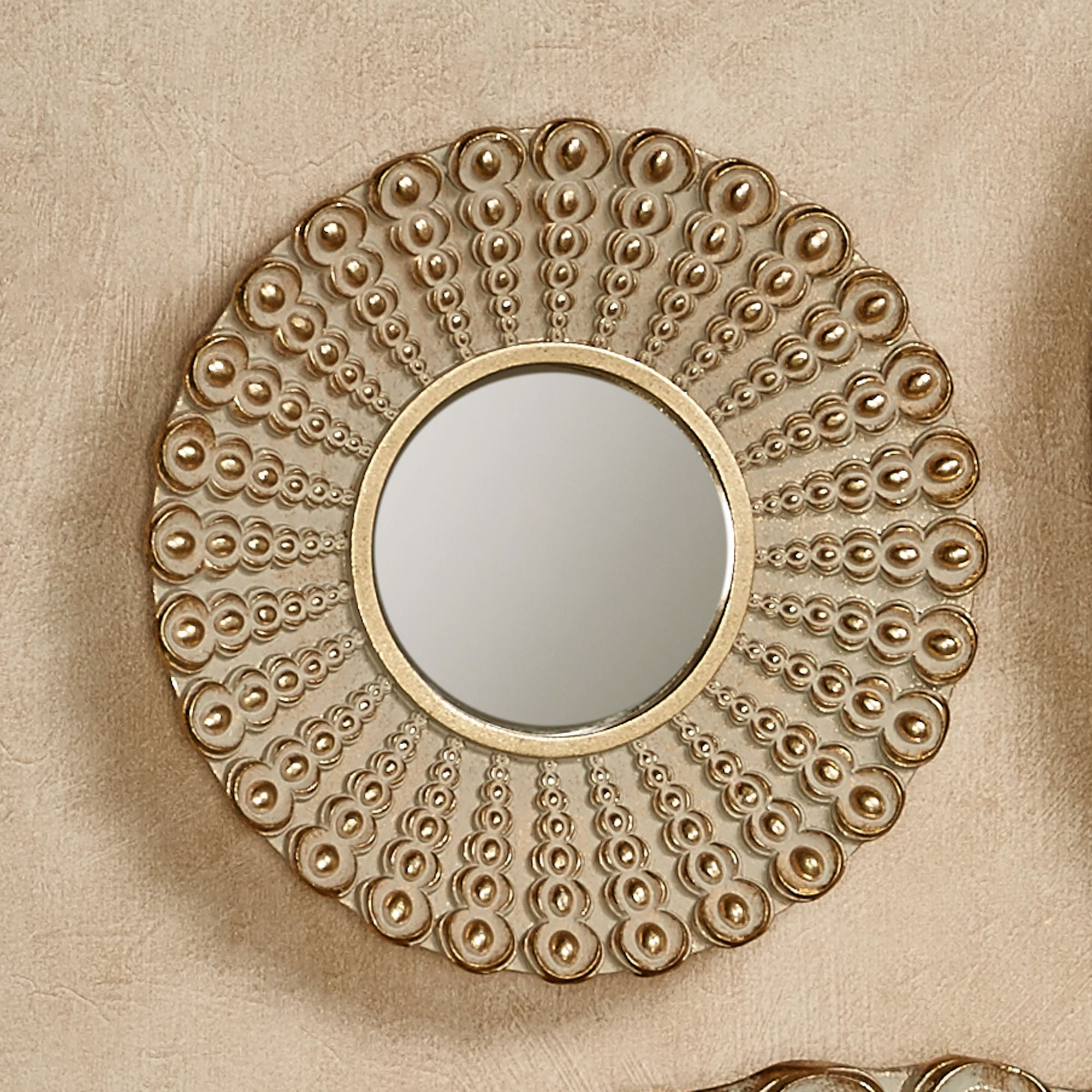 Superior Alexander Beaded Round Wall Mirror Gold Small