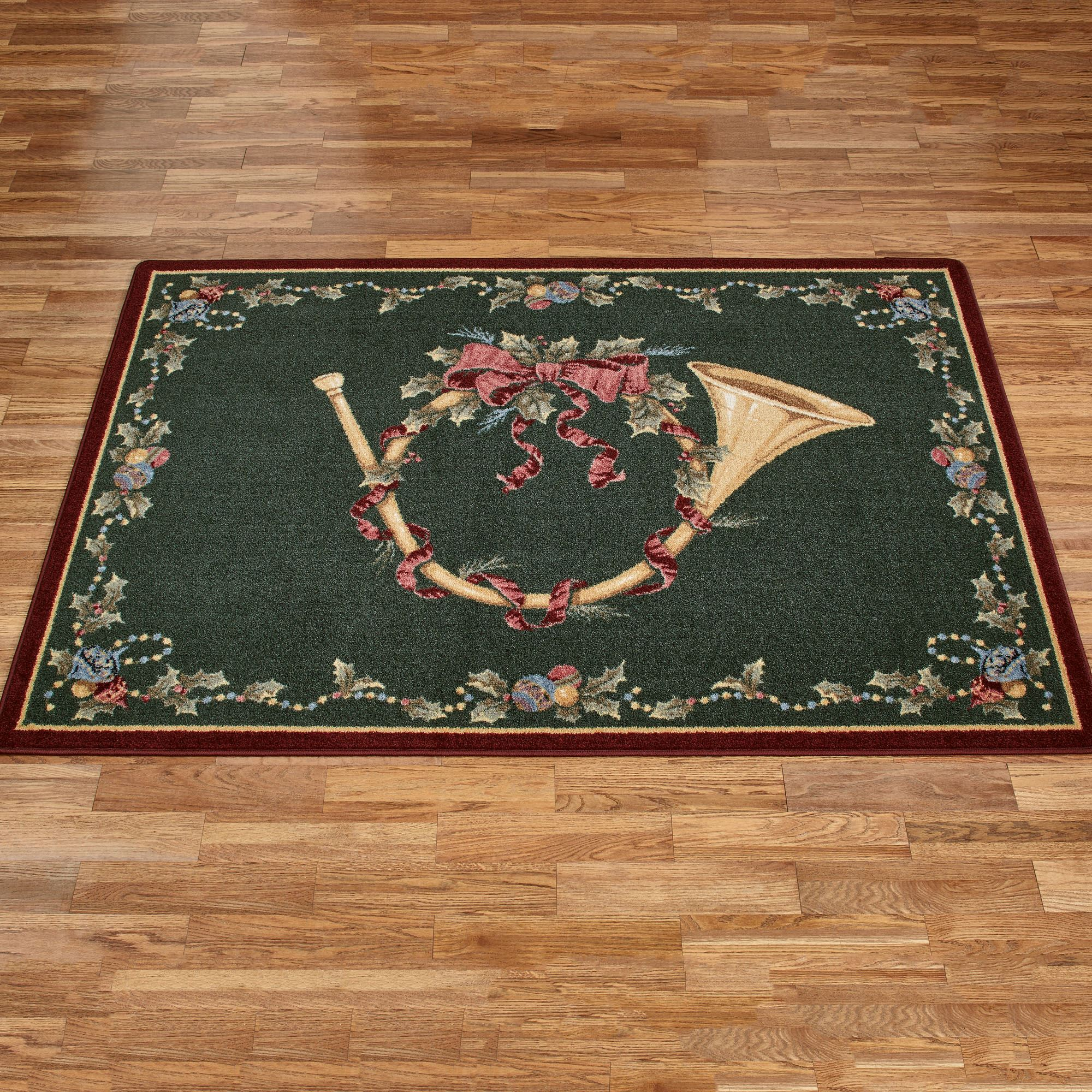 Milliken Carpets French Horn Dark Green Holiday Area Rugs