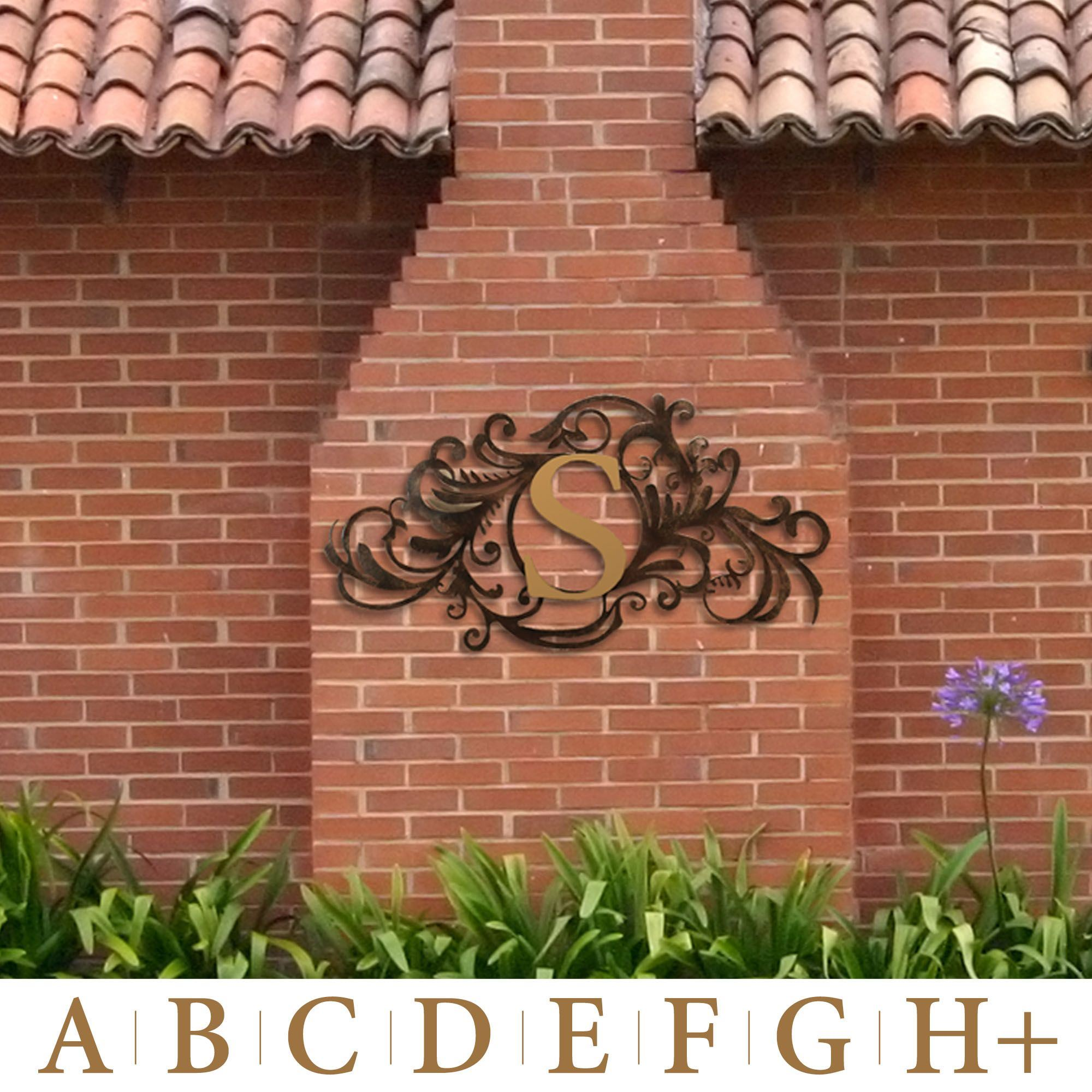 Evanston Indoor Outdoor Monogram Metal Wall Art Sign