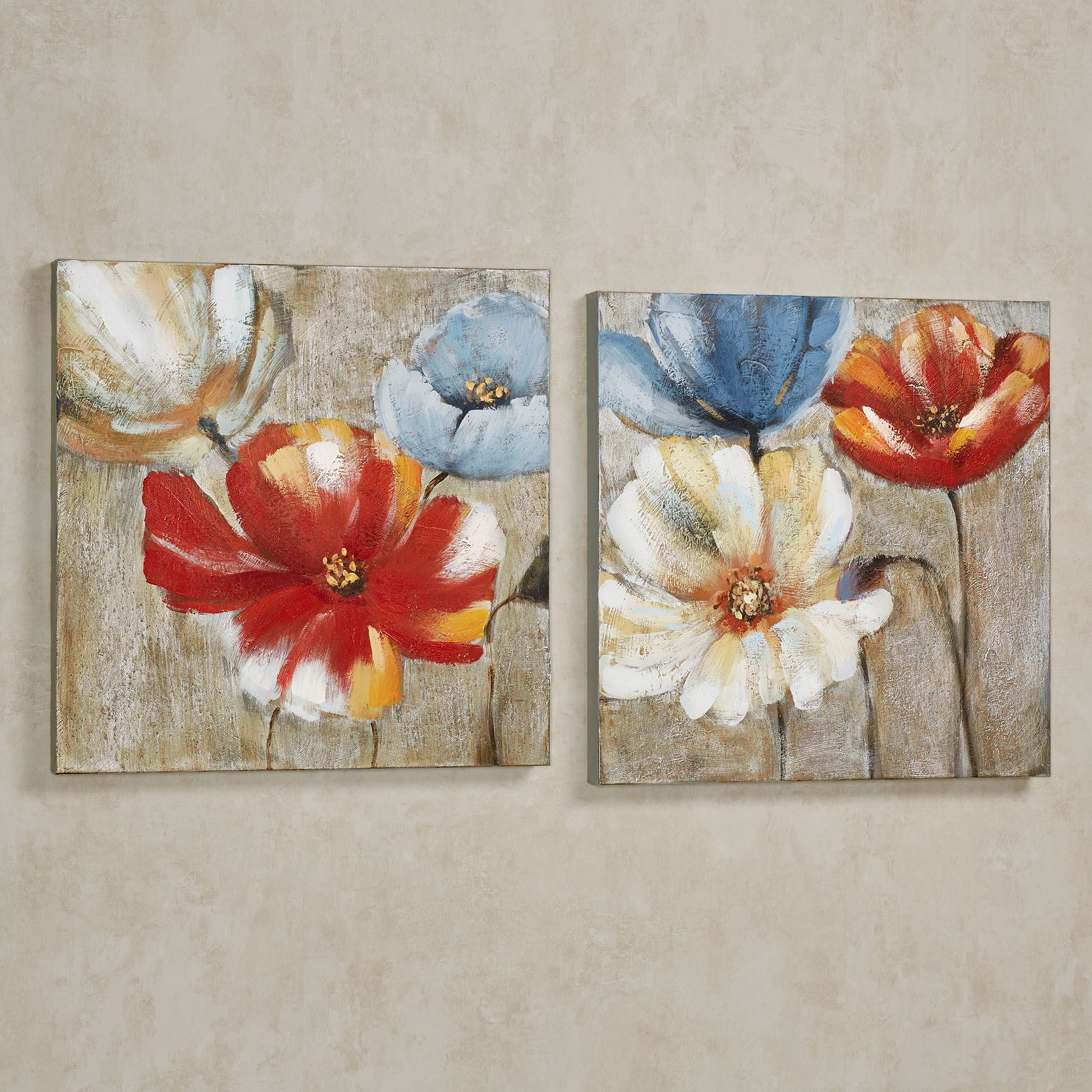 joyful garden floral canvas wall art set
