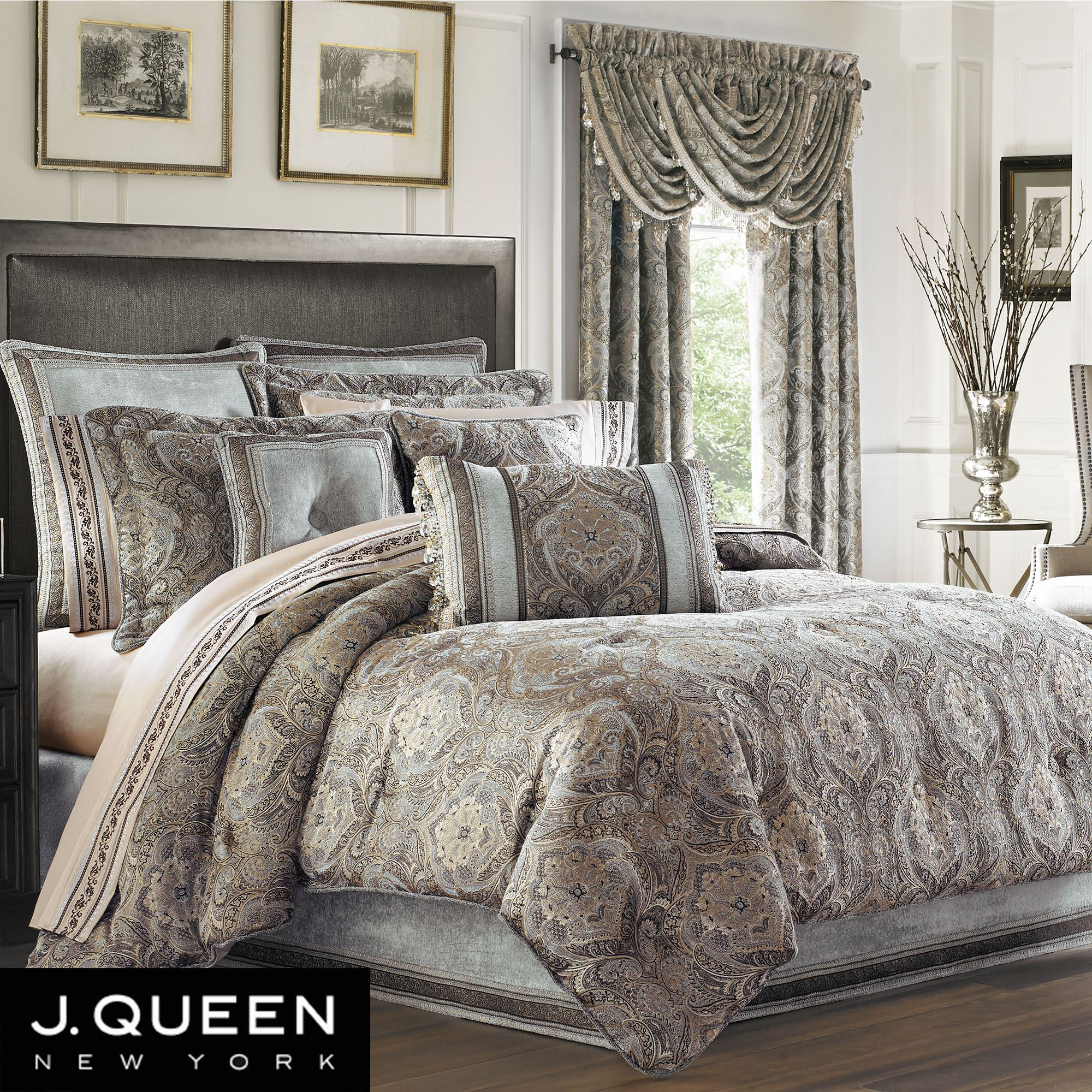 Provence Scroll Medallion Comforter Bedding By J Queen New