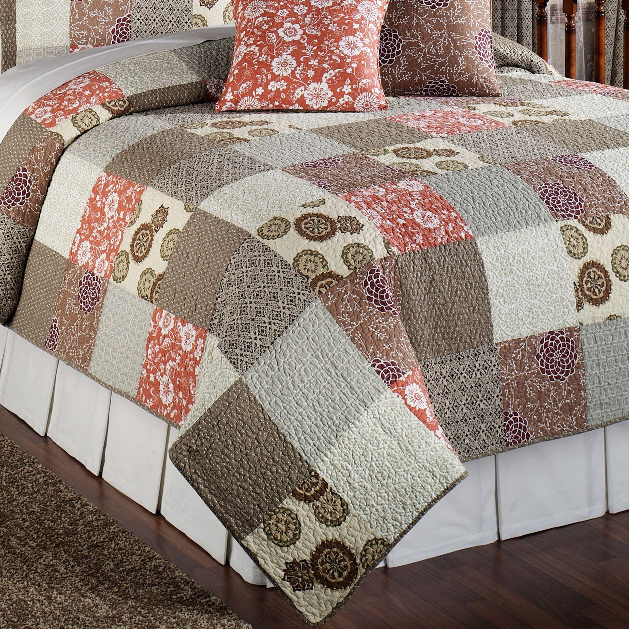 Stella Cotton Patchwork Quilt Bed Set : brown patchwork quilt - Adamdwight.com
