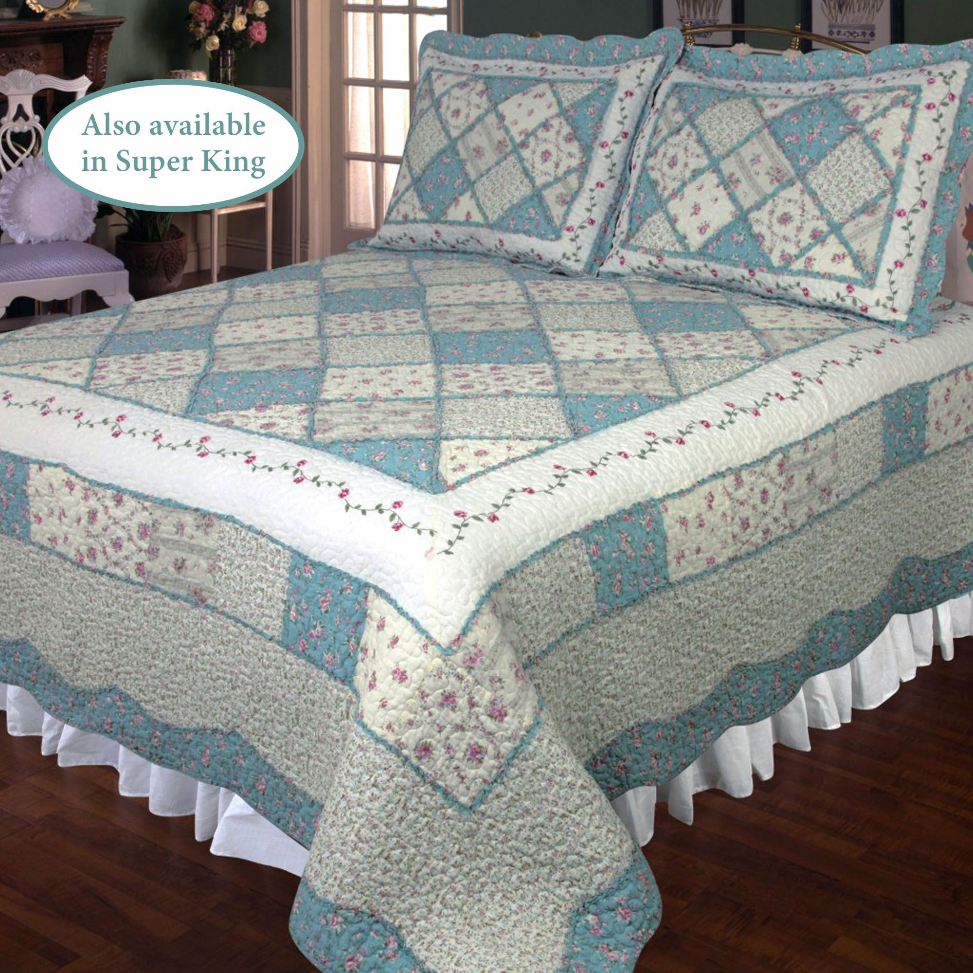 Ashley Blue Floral Patchwork Quilt Bedding : blue quilts bedding - Adamdwight.com
