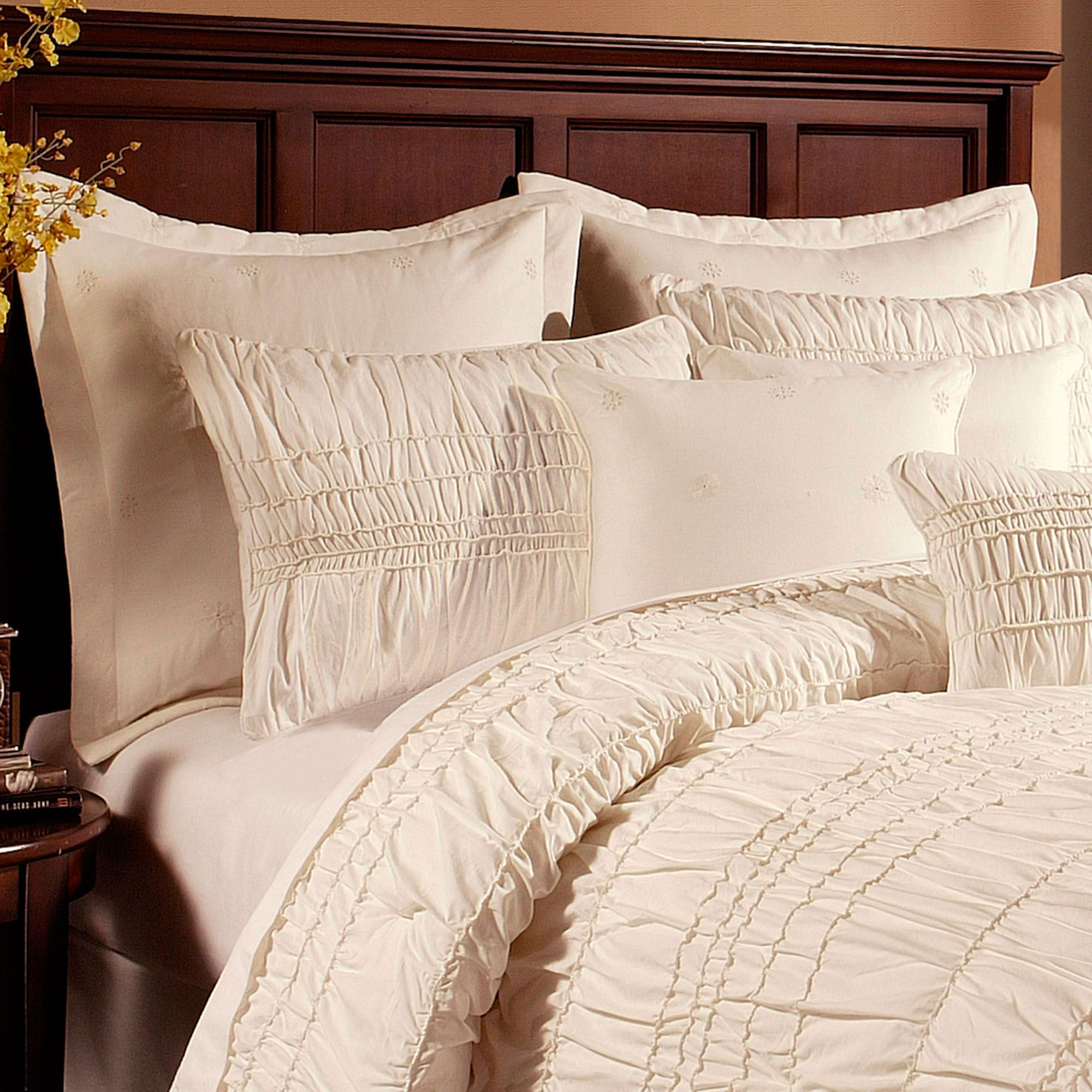 Fontana ruched ivory comforter bedding - Bedroom sheets and comforter sets ...