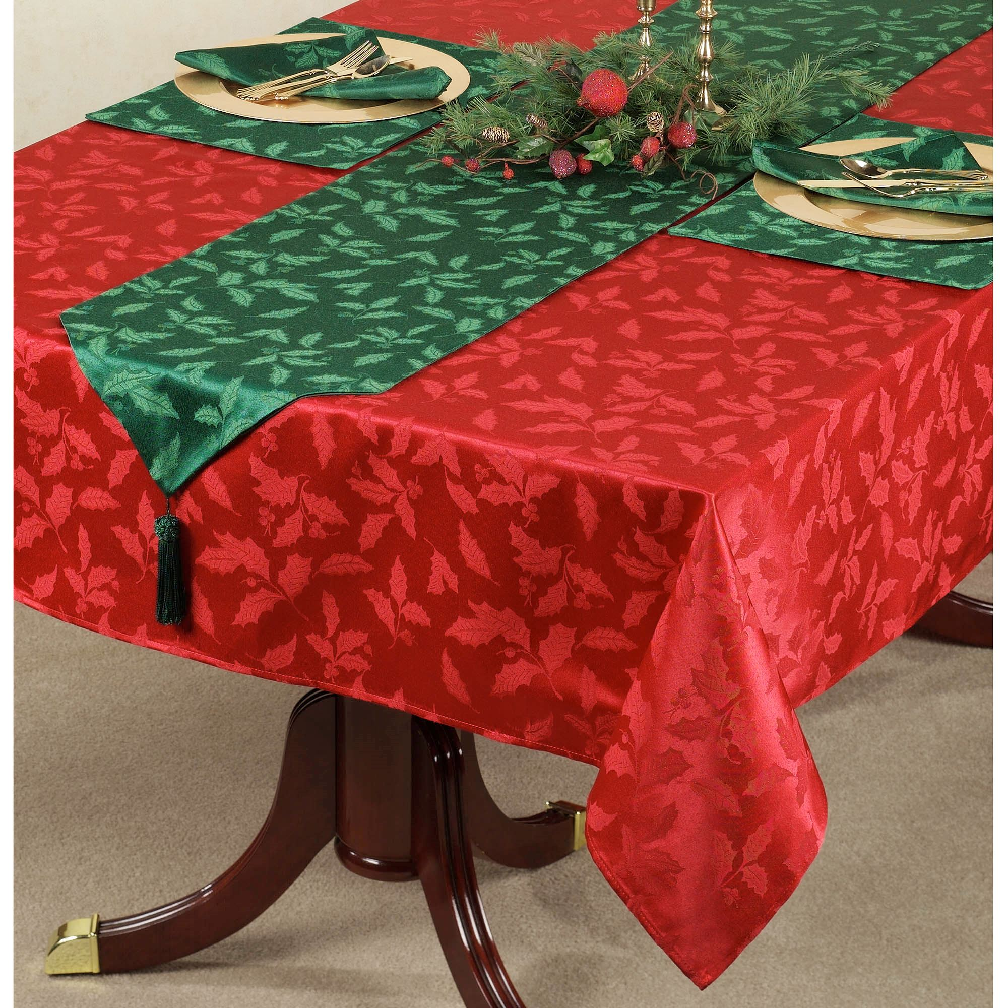 High Quality Holly Damask Tablecloth. Click To Expand