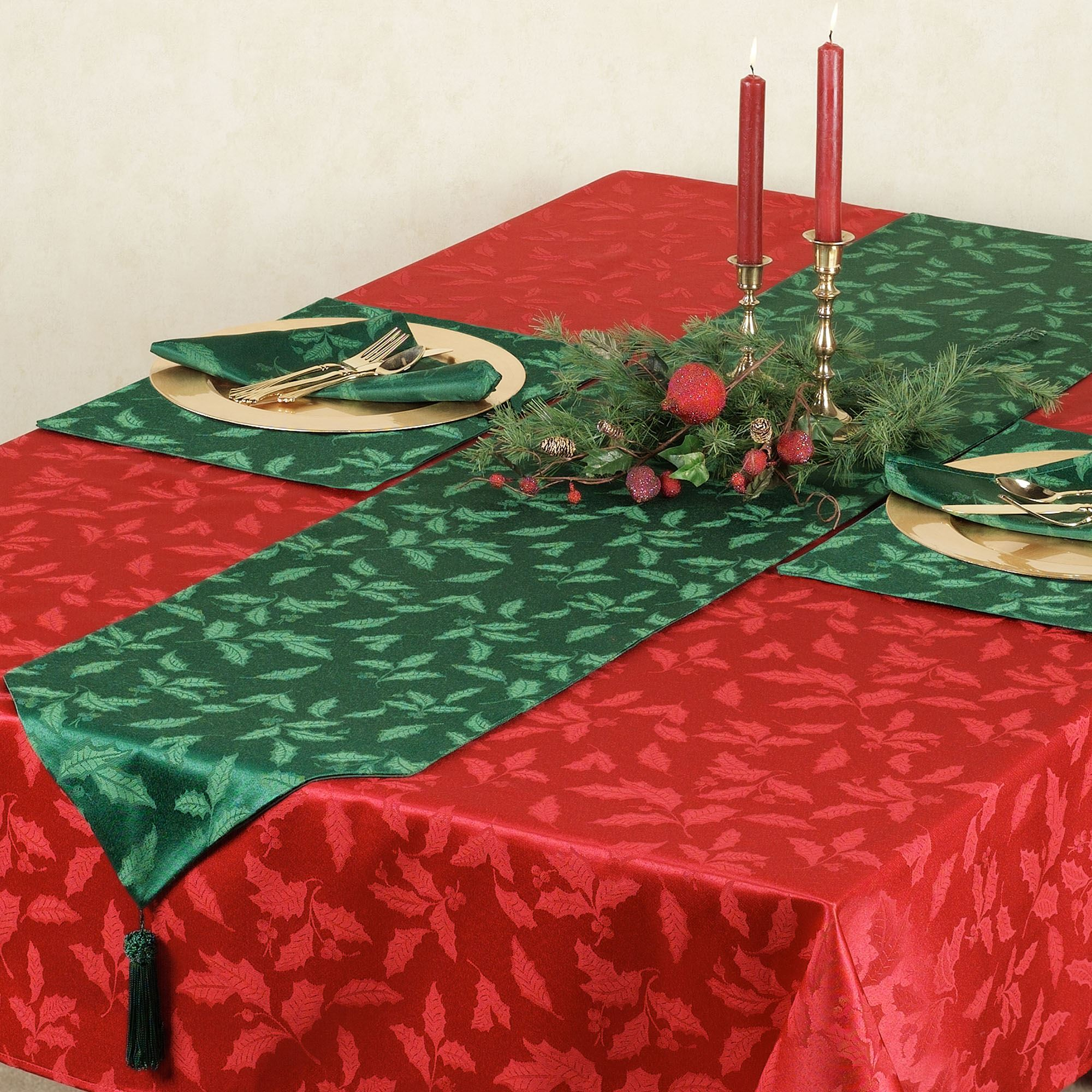 Lenox Holly Damask Holiday Table Linens