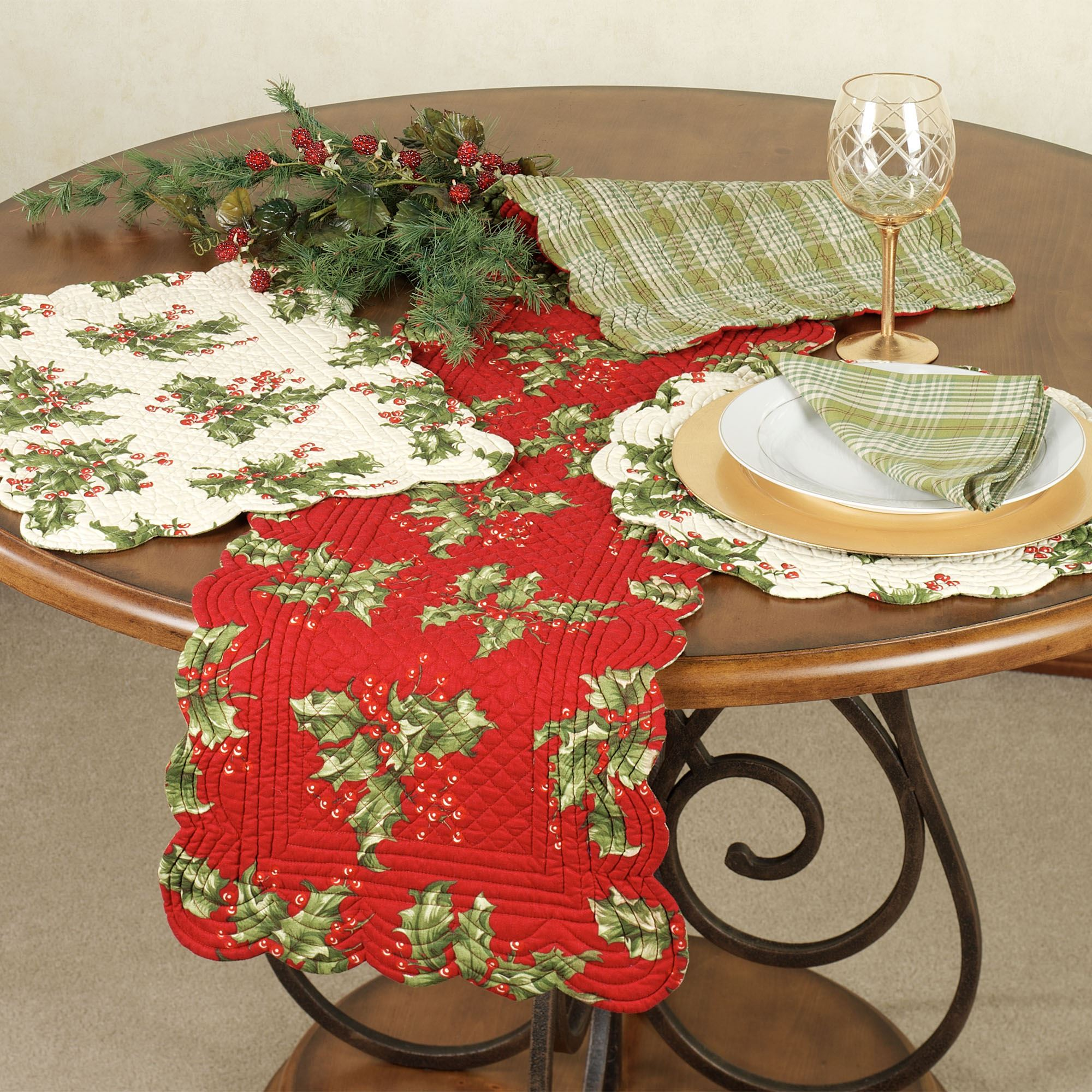 Holly Berry Reversible Quilted Table Linens : quilted table linens - Adamdwight.com