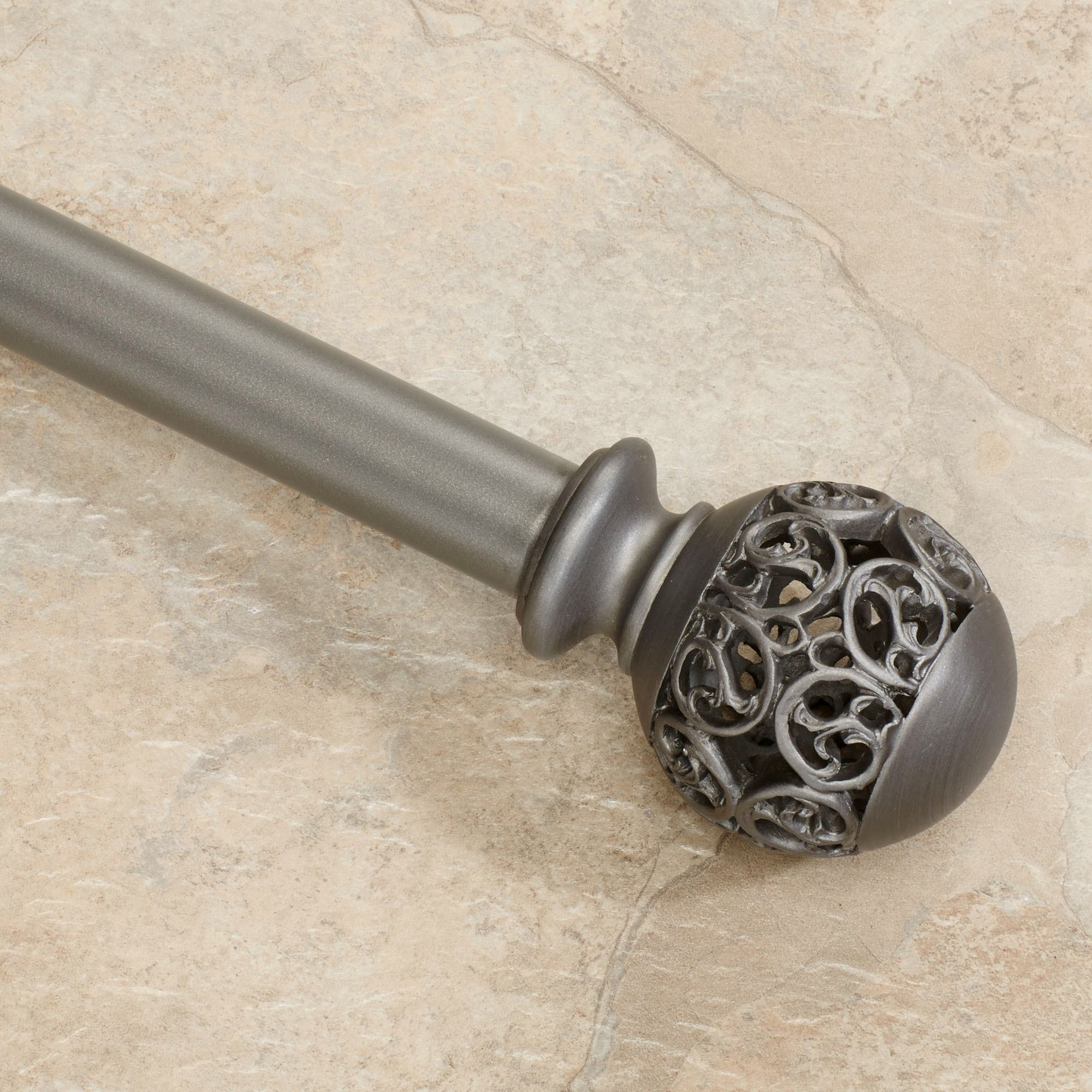 Waverly Metro Silver Curtain Rod And Finial Set 24 Quot To 120 Quot