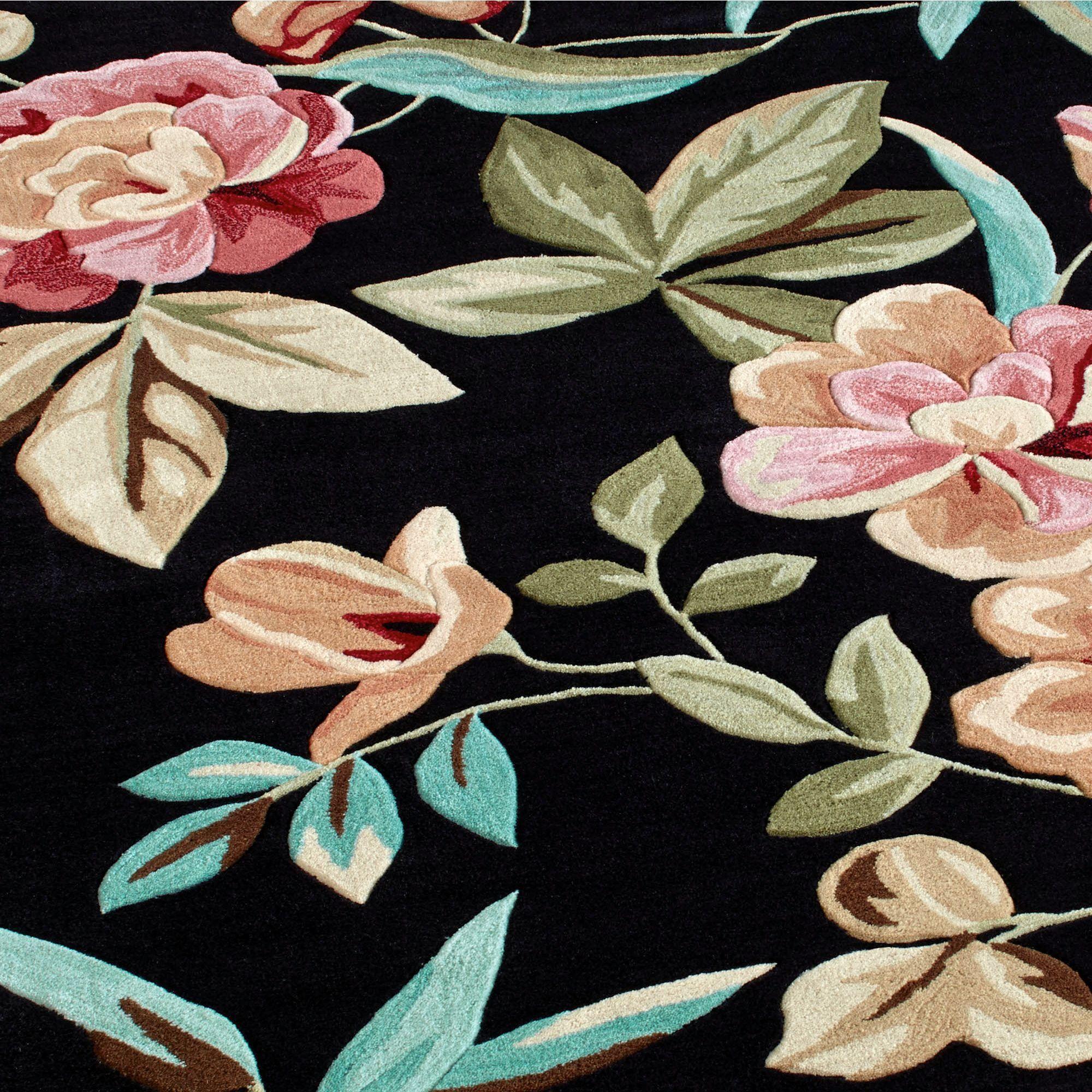 Flor Bloom Round Rug Black 56
