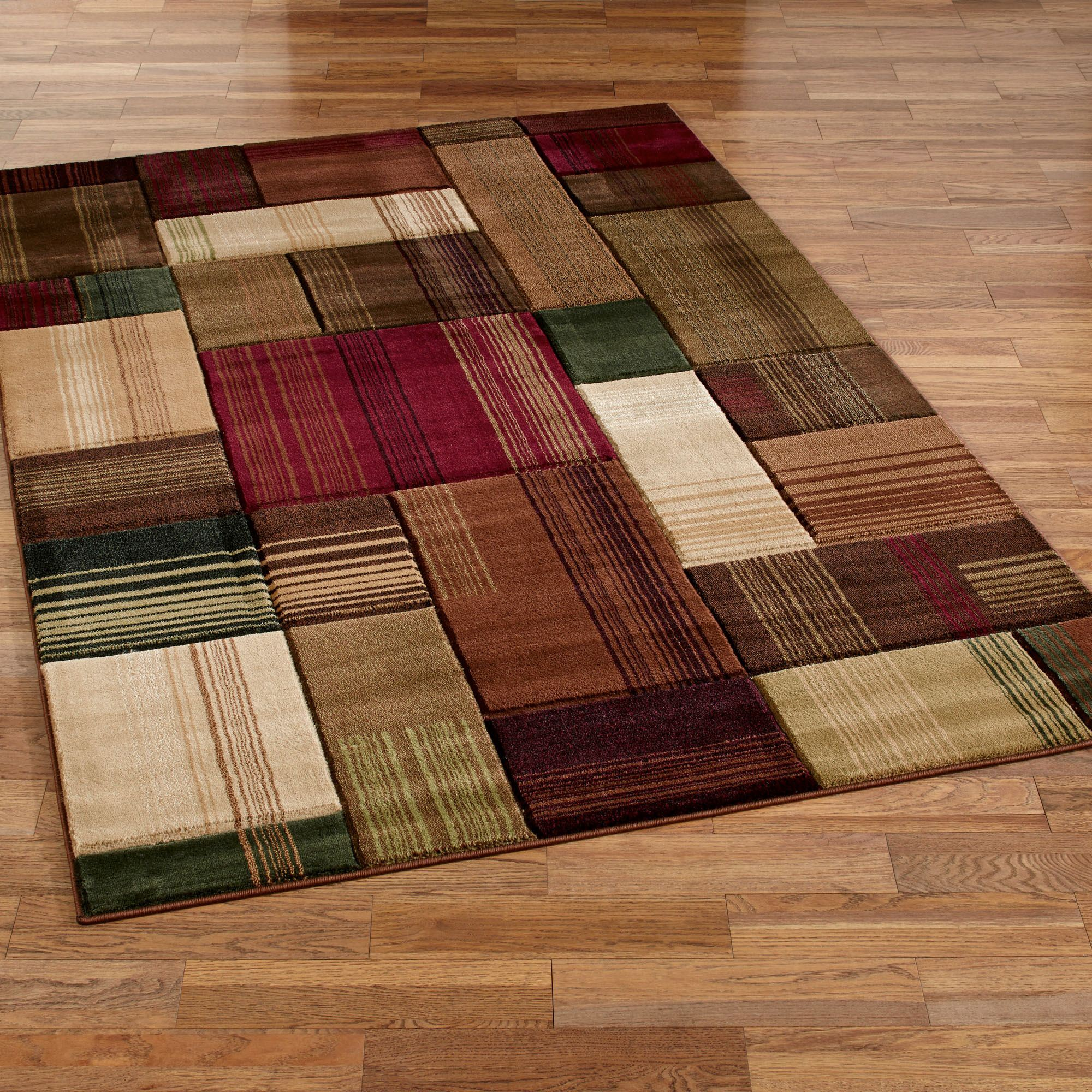 Transitional Block Design Area Rugs