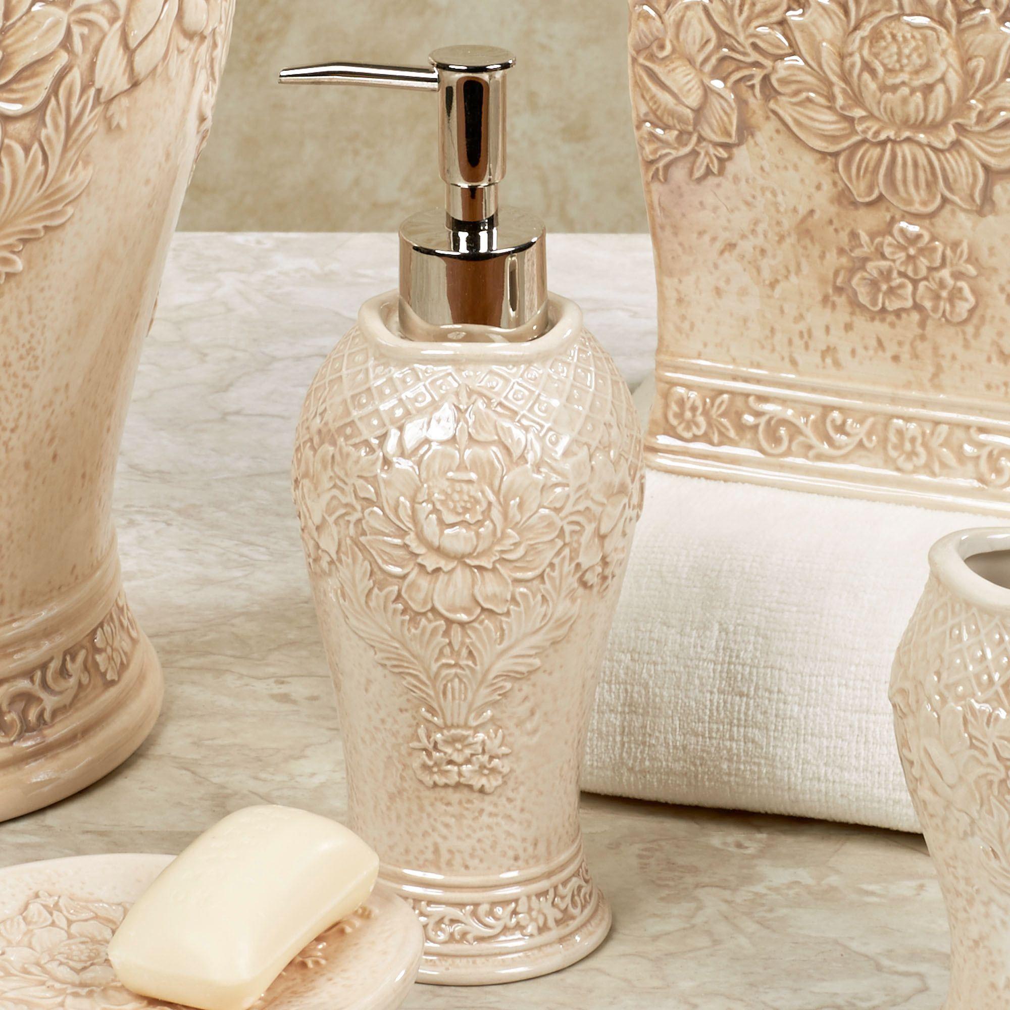 Bianca ceramic floral bath accessories by j queen new york for Ceramic bathroom accessories