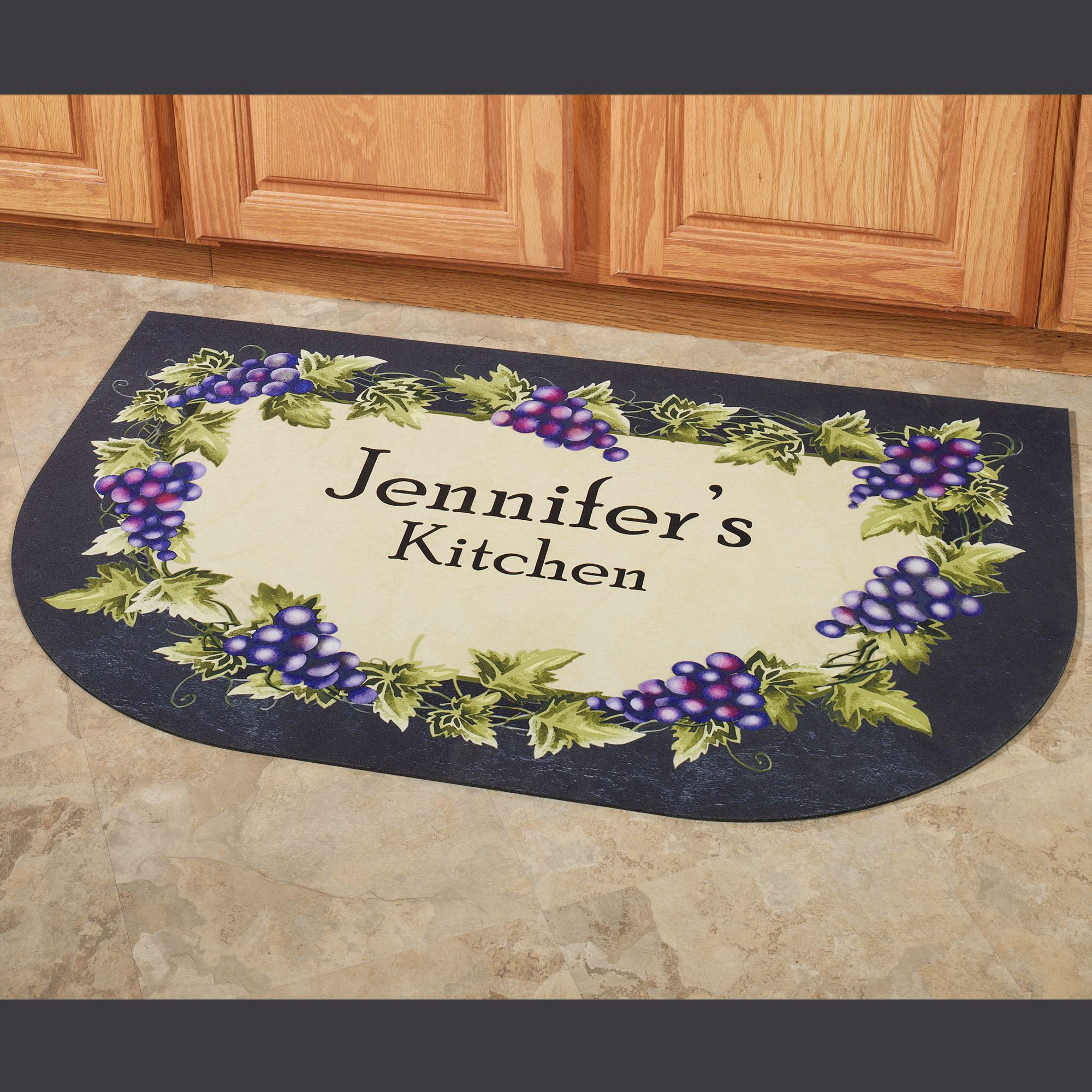 Grapevine Slice Personalized Kitchen Mat