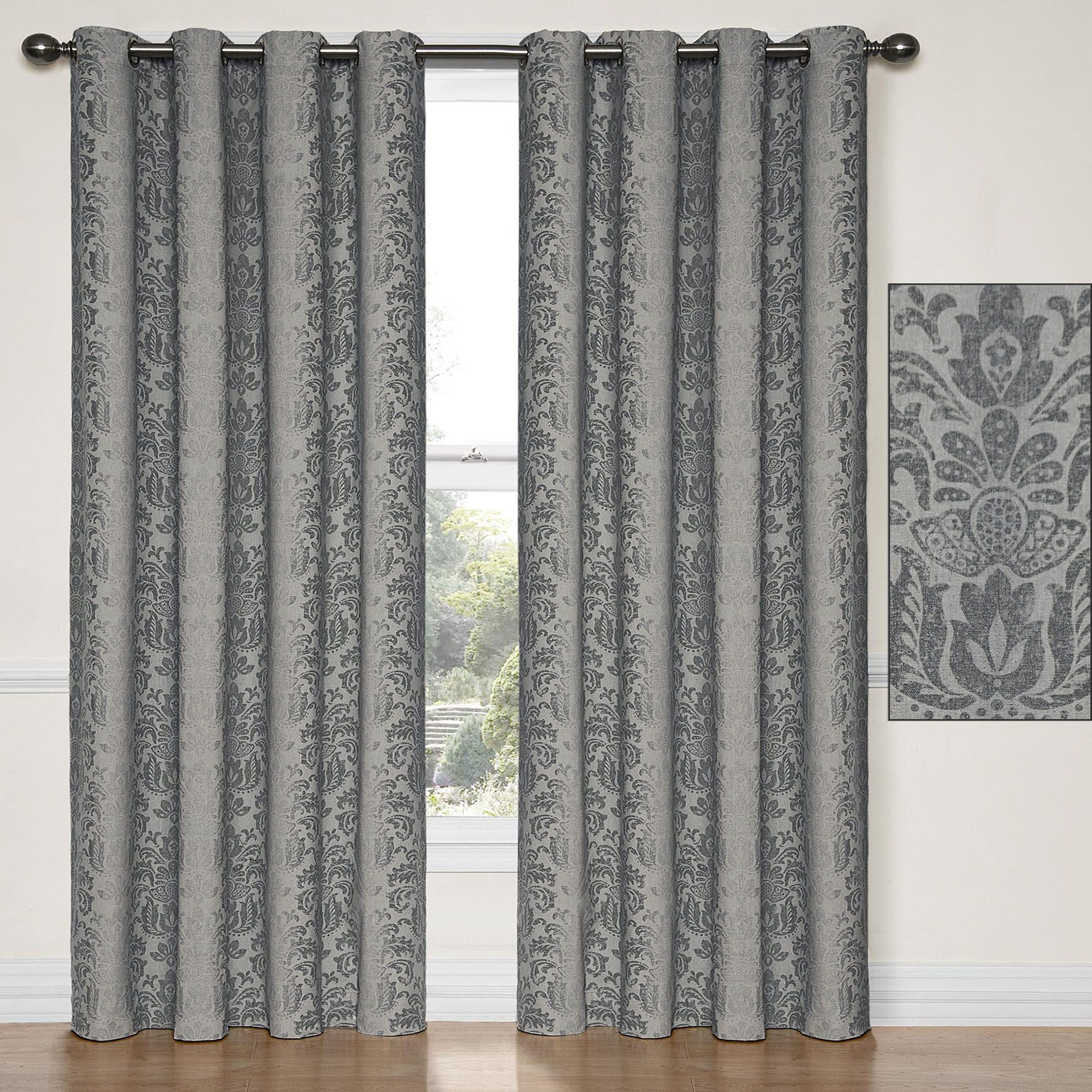 curtain curtains charcoal shower yellow decor gray leah lush b com inches x amazon
