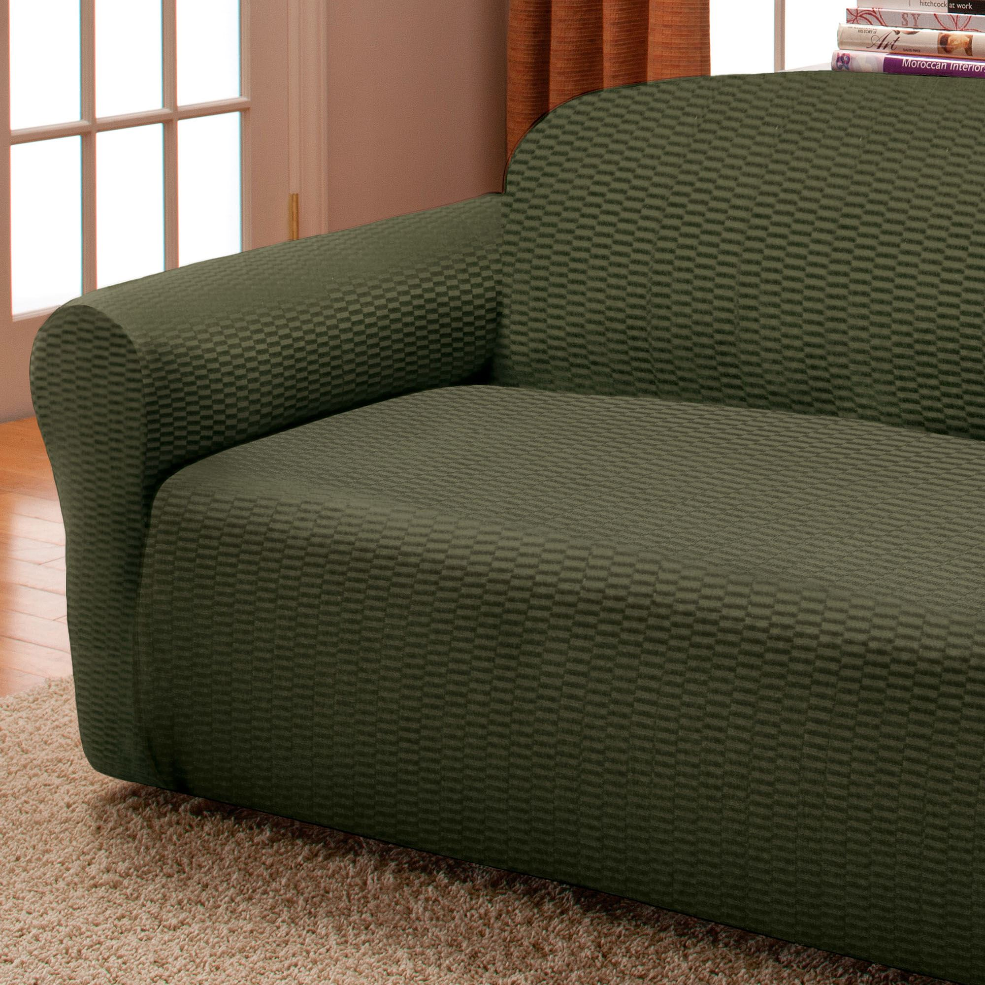 Stretch slipcover sofa how to install a 2 piece stretch slipcover by caber sure fit inc thesofa Loveseat stretch slipcovers