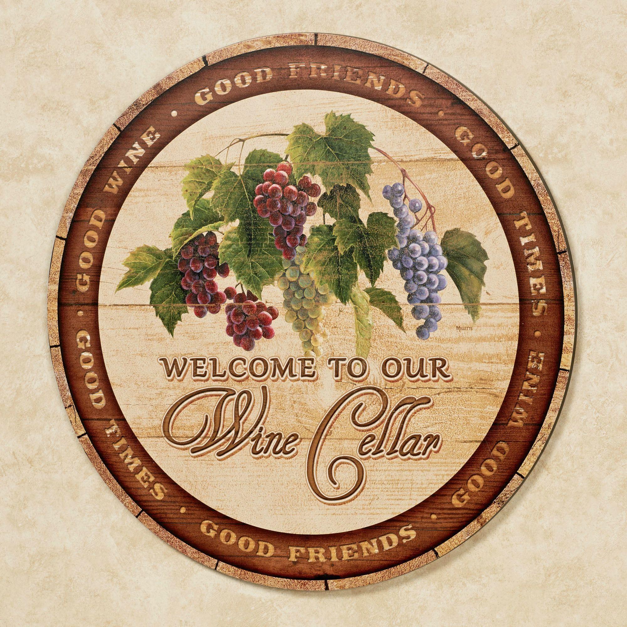 Wine Cellar Round Wooden Wall Art Sign