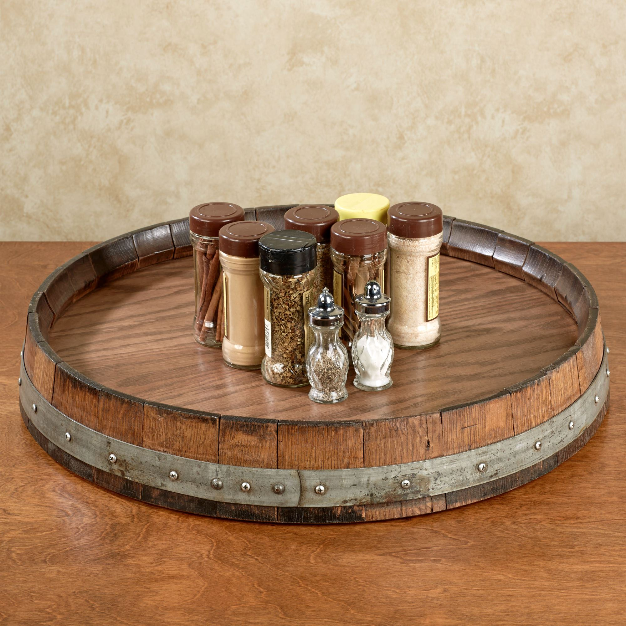 Reclaimed Wine Barrel Large Lazy Susan