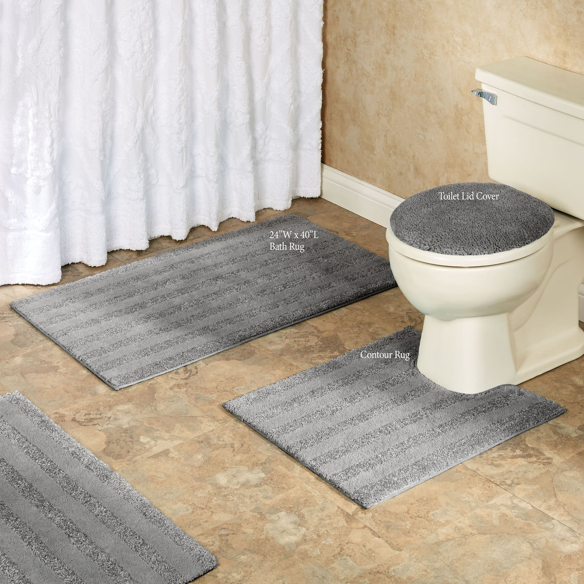Comforel Toilet Lid Covers Or Striped Bath Rugs