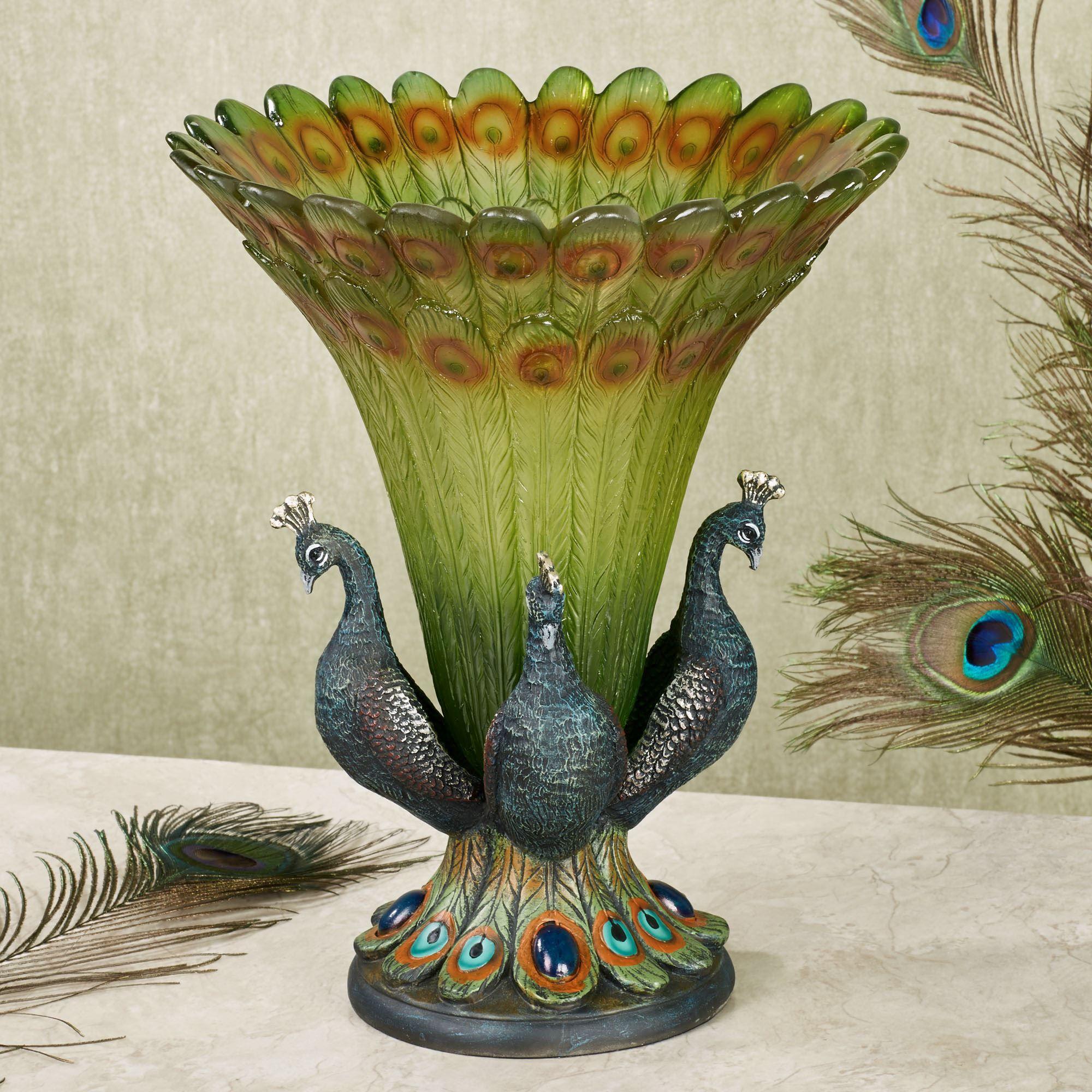 Peacock tabletop centerpiece vase