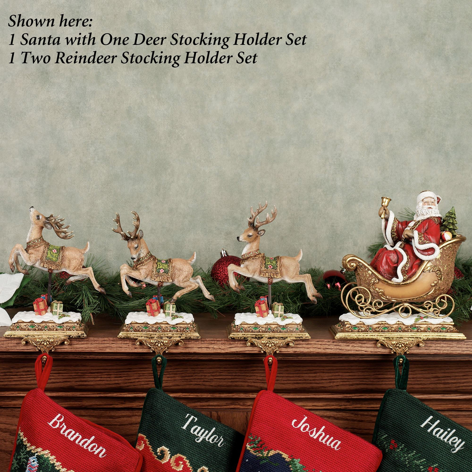 Christmas Stocking Holder.Santa With Reindeer Stocking Holders