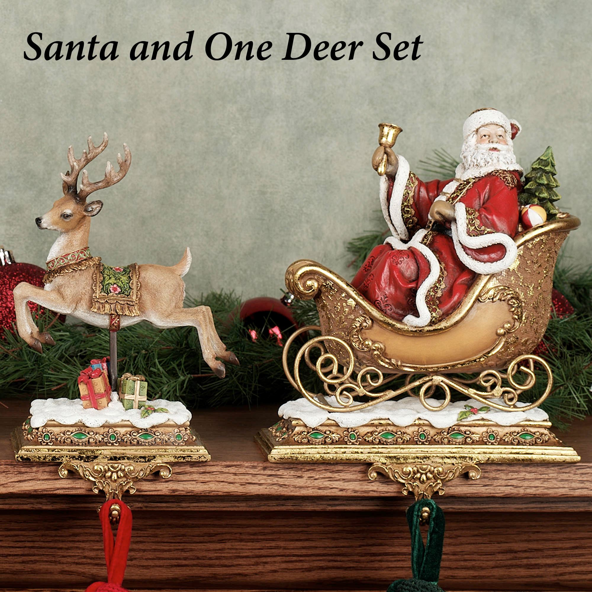 santa with one reindeer stocking holders set of two