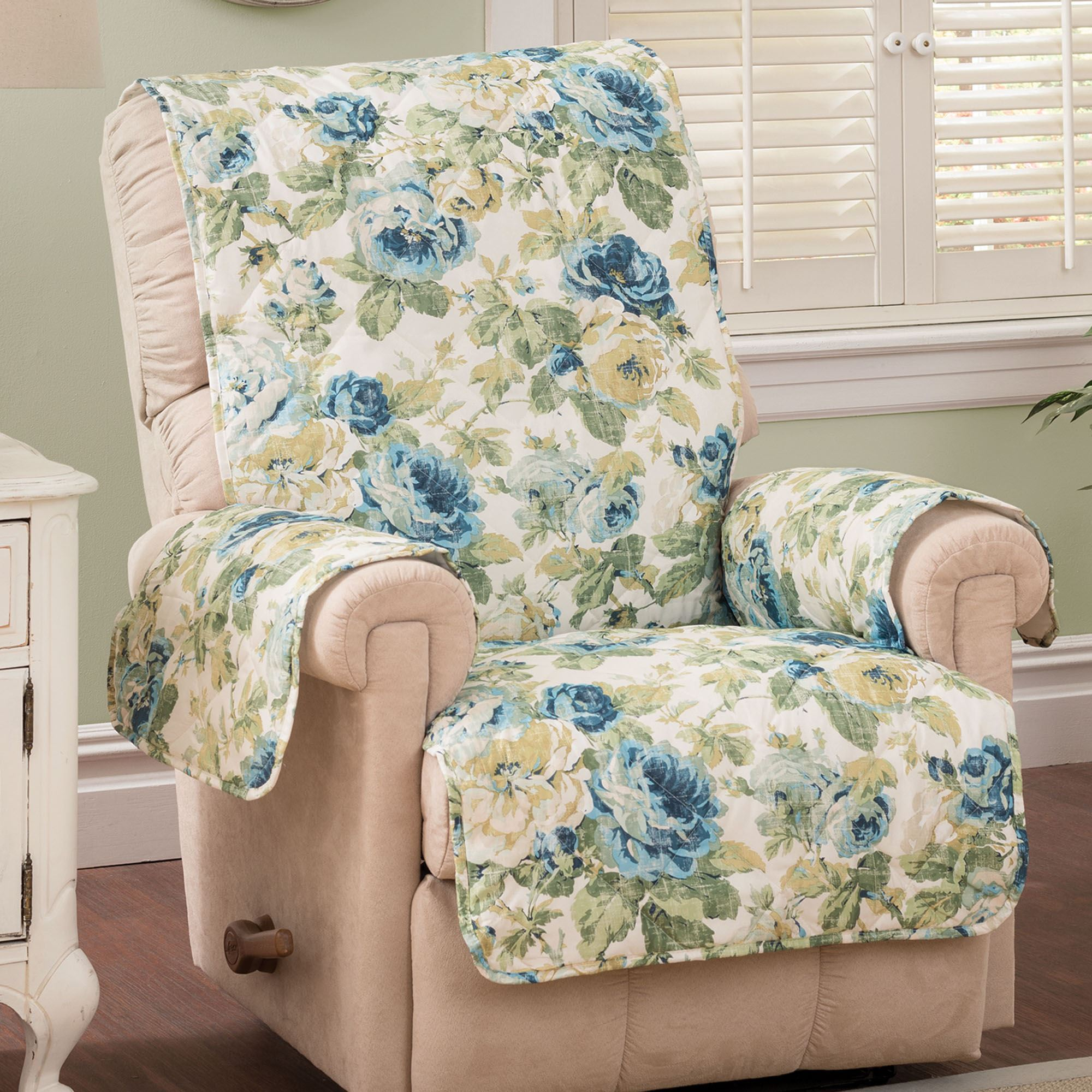 English Floral Sky Blue Quilted Furniture Protectors : quilted furniture protectors - Adamdwight.com