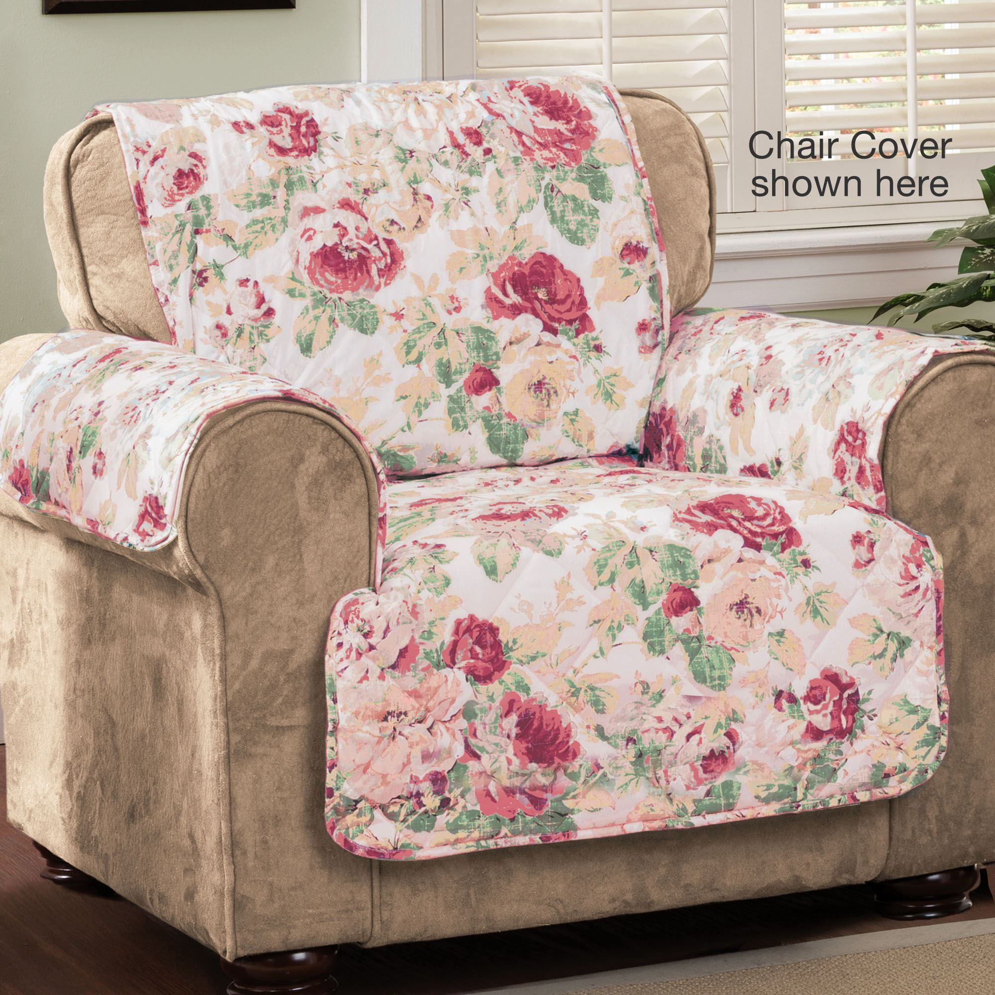 Ordinaire English Floral Furniture Protector Cover Tea Rose Chair