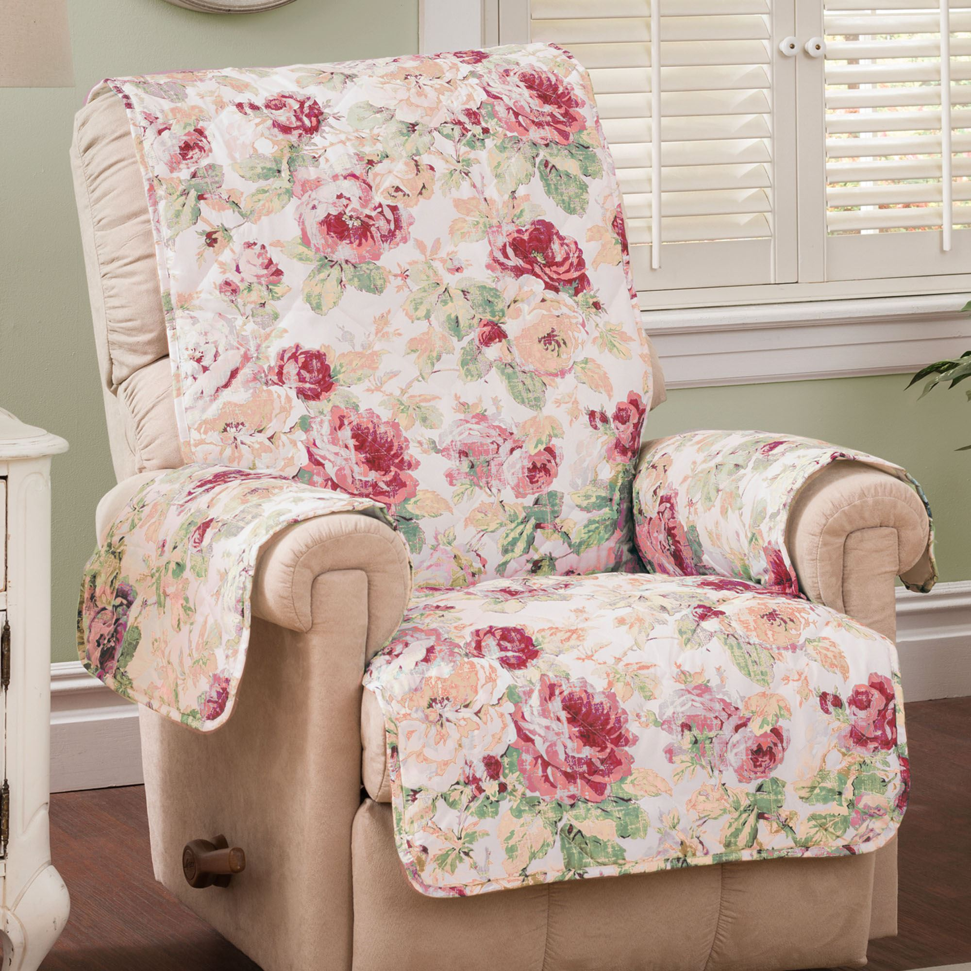 Beau English Floral Furniture Protector Cover Tea Rose Recliner/Wing Chair
