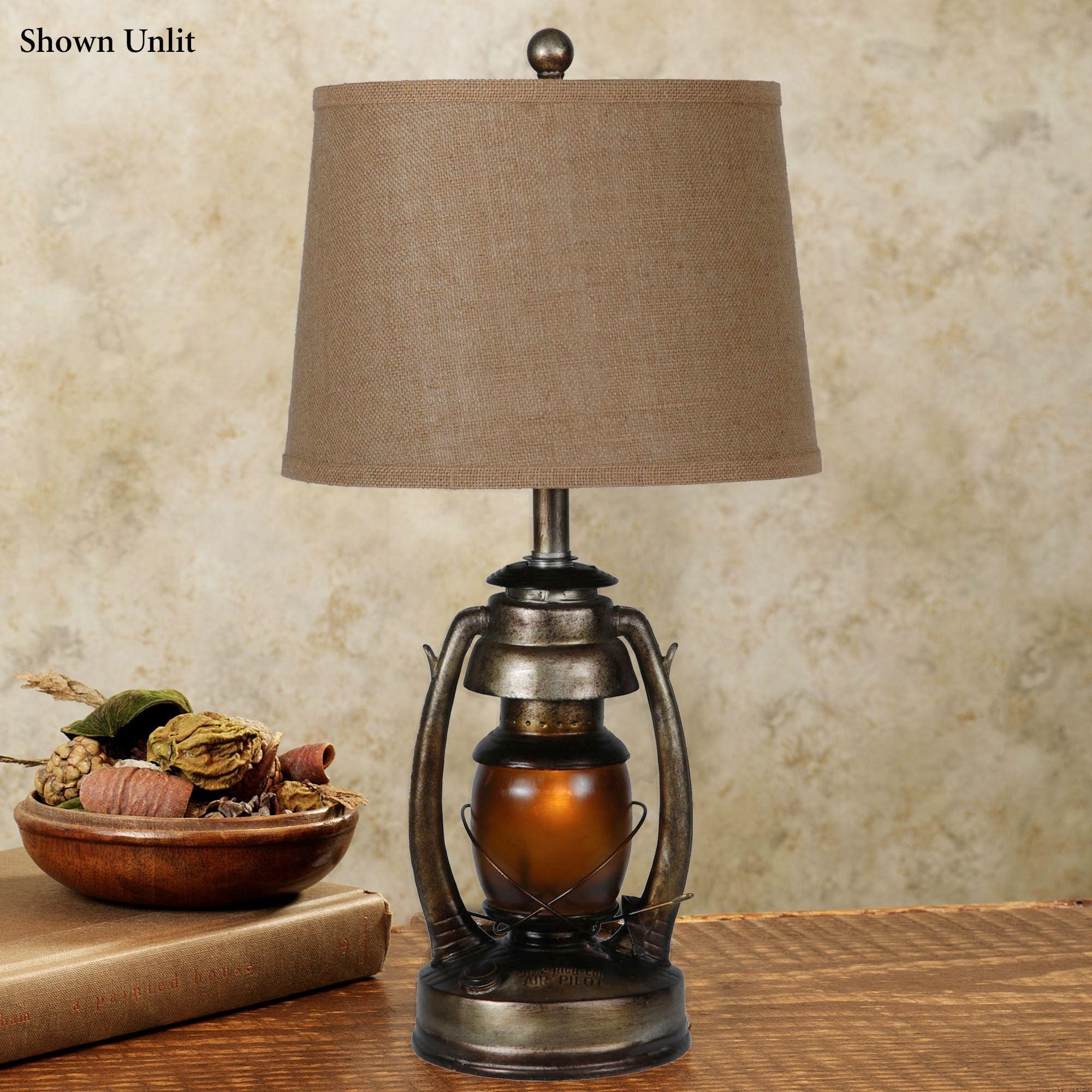 Sherlock Lantern Table Lamp with Nightlight Bulb