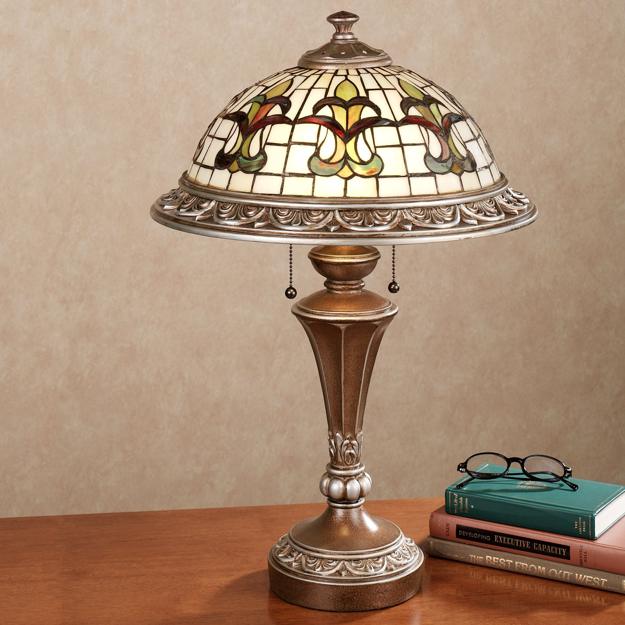 Fleur De Lis Stained Glass Table Lamp