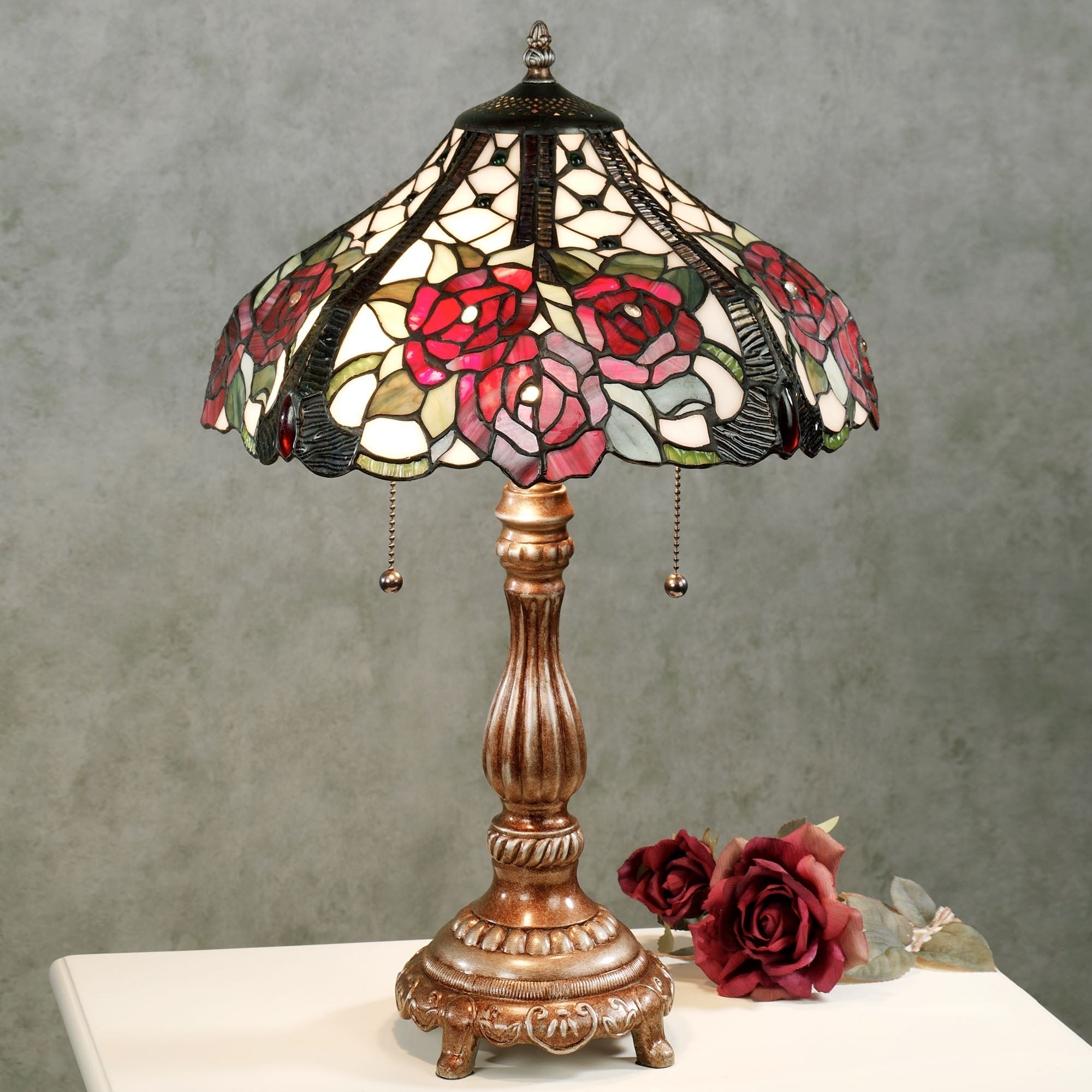 Rosalee Bouquet Stained Glass Table Lamp