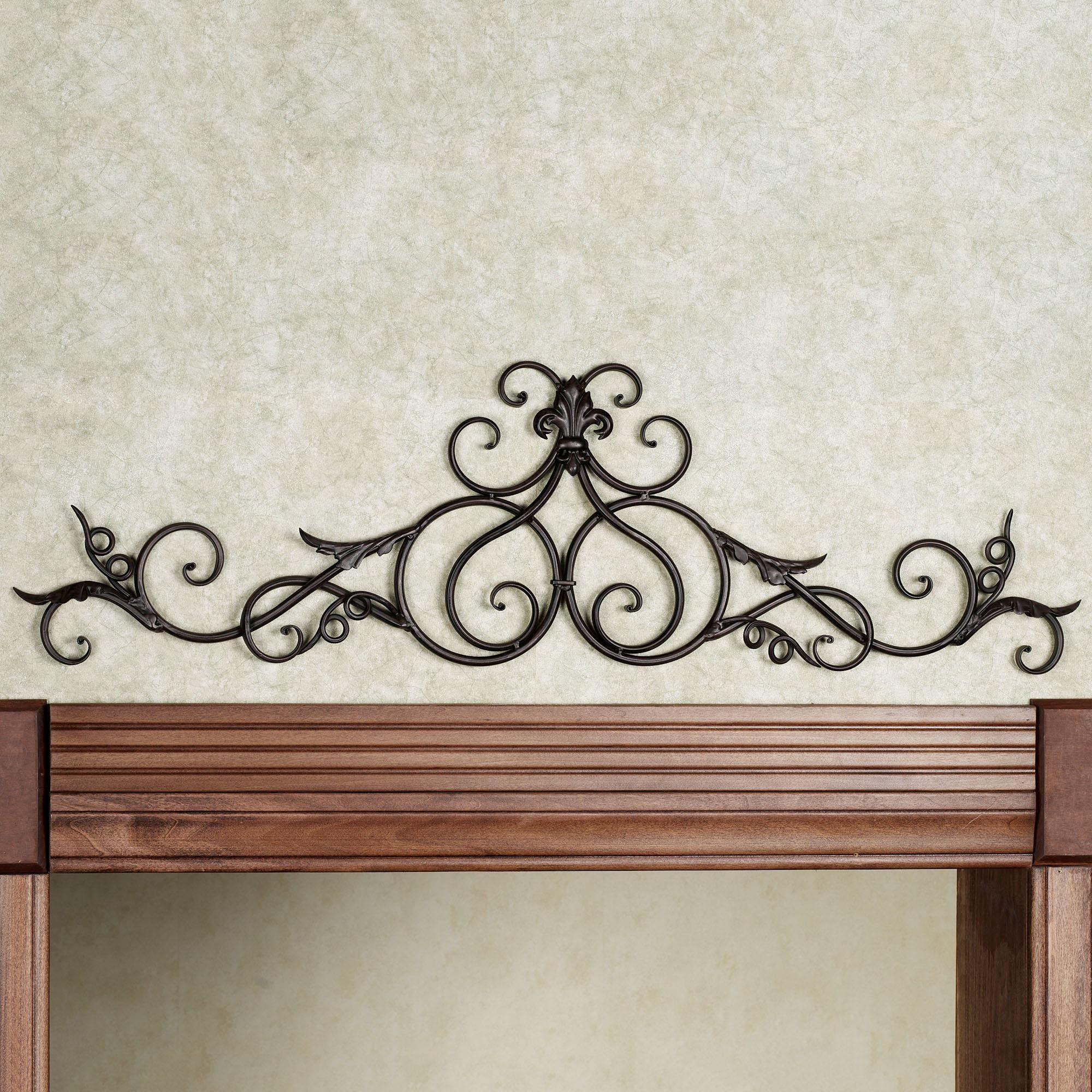 Wrought Iron Metal Wall Decor Alluring Salvator Antique Mahogany Iron Scrolling Topper Design Ideas