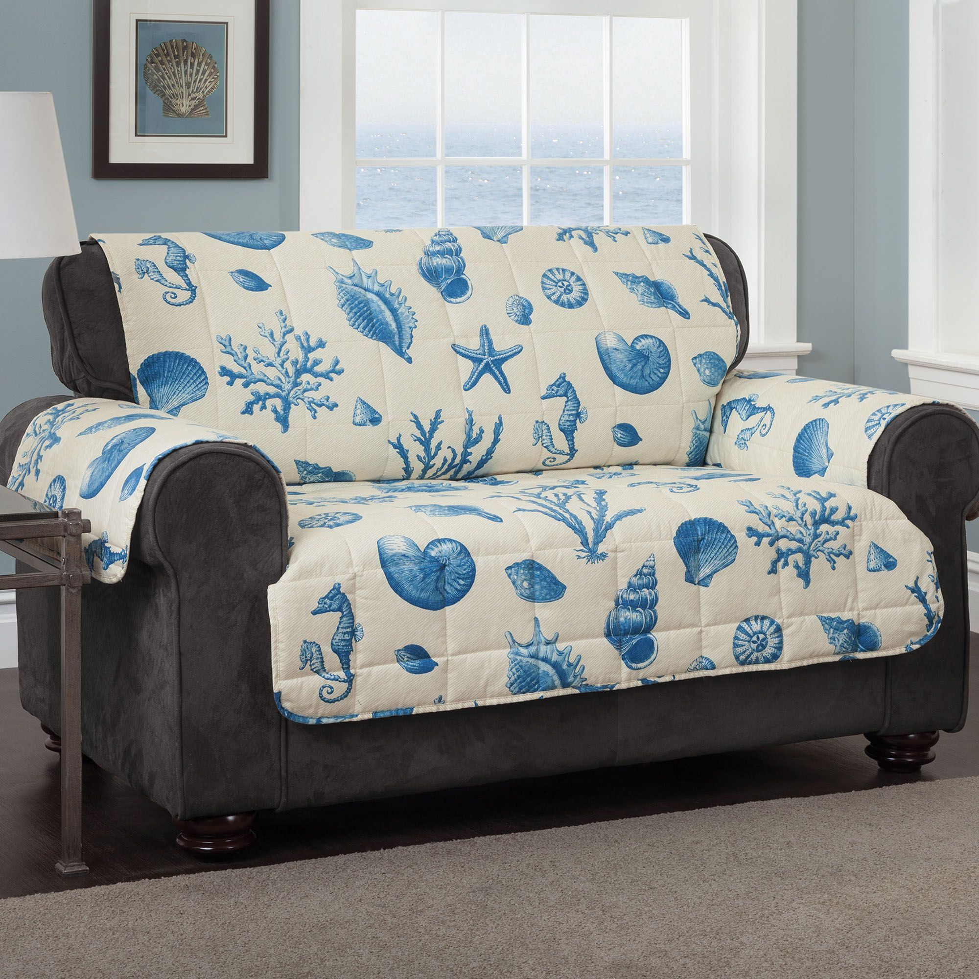 Seashells Furniture Protector Cover Medium Blue Loveseat