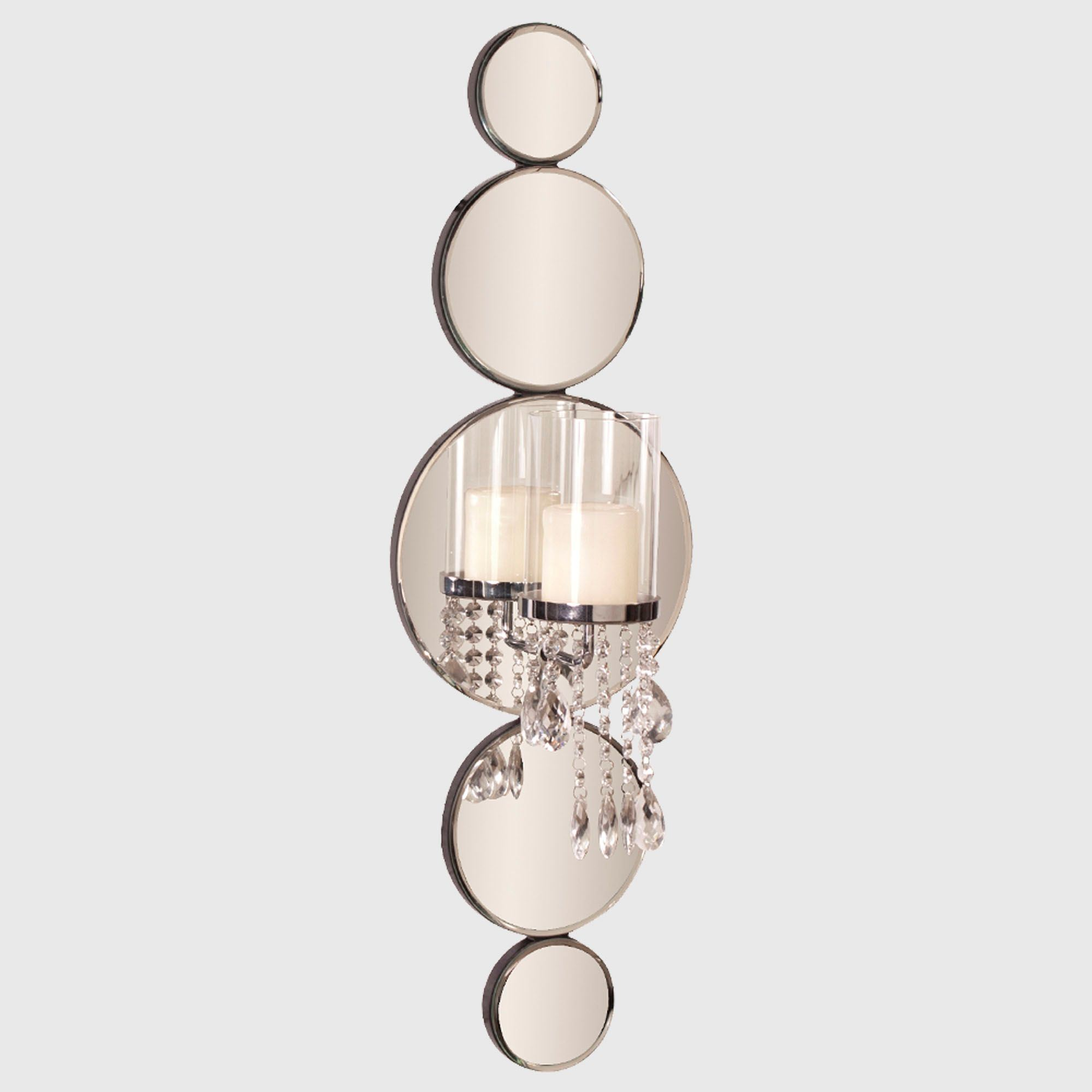 Michele mirrored wall sconce with crystals