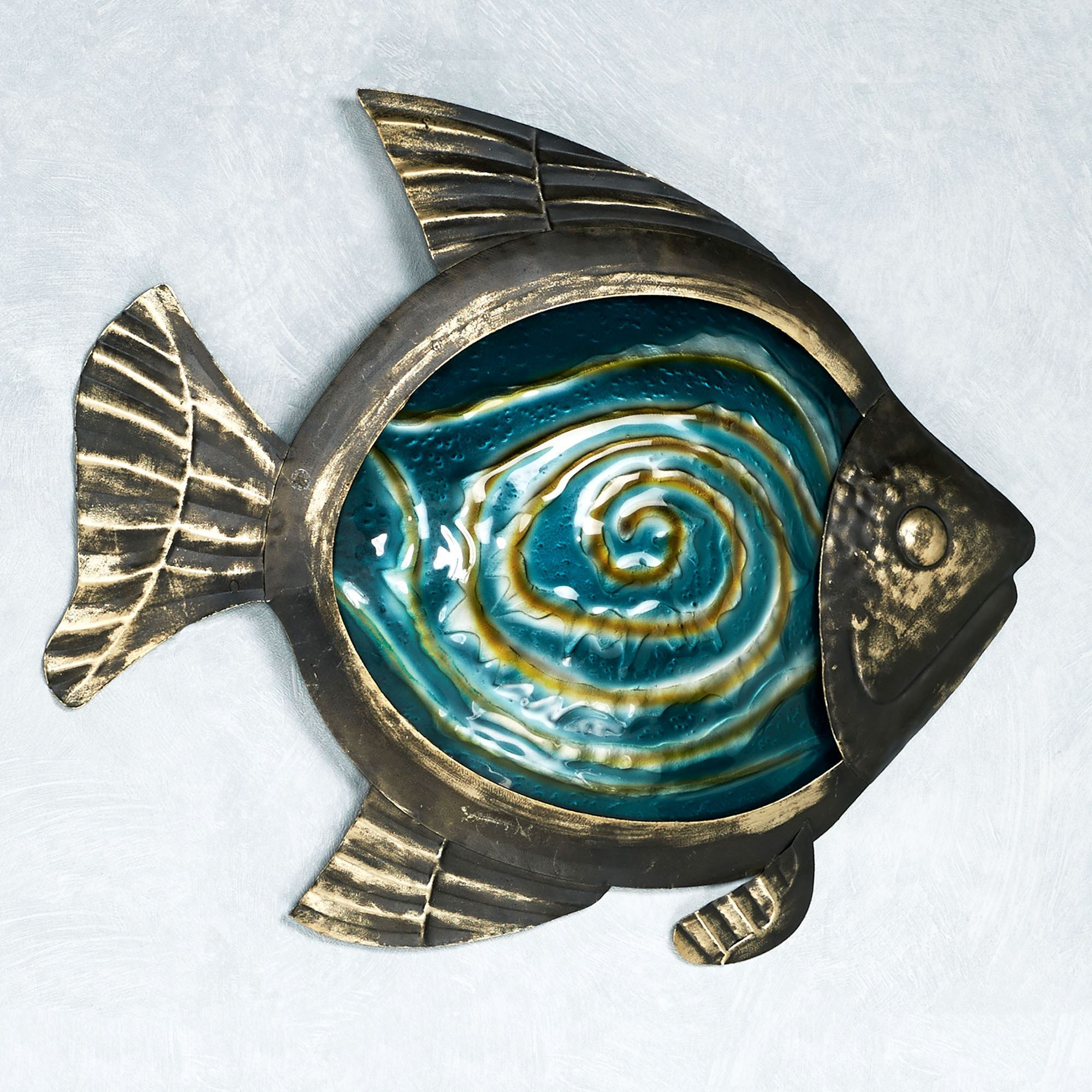 Sealife indoor outdoor glass metal wall art for Metal fish art wall decor