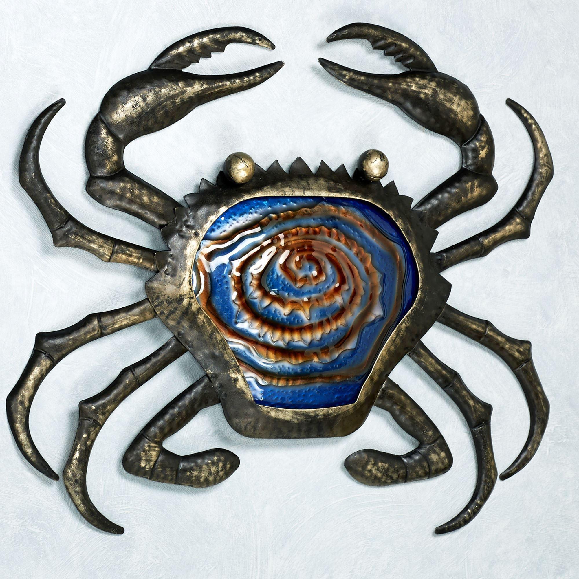 Sealife indoor outdoor glass metal wall art crab glass and metal wall art blackgold amipublicfo Gallery