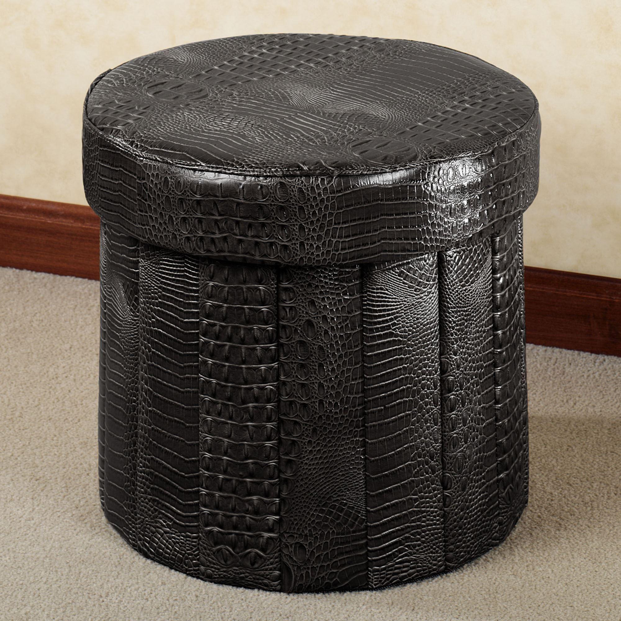 Almas Animal Print Black Faux Leather Round Storage Ottoman