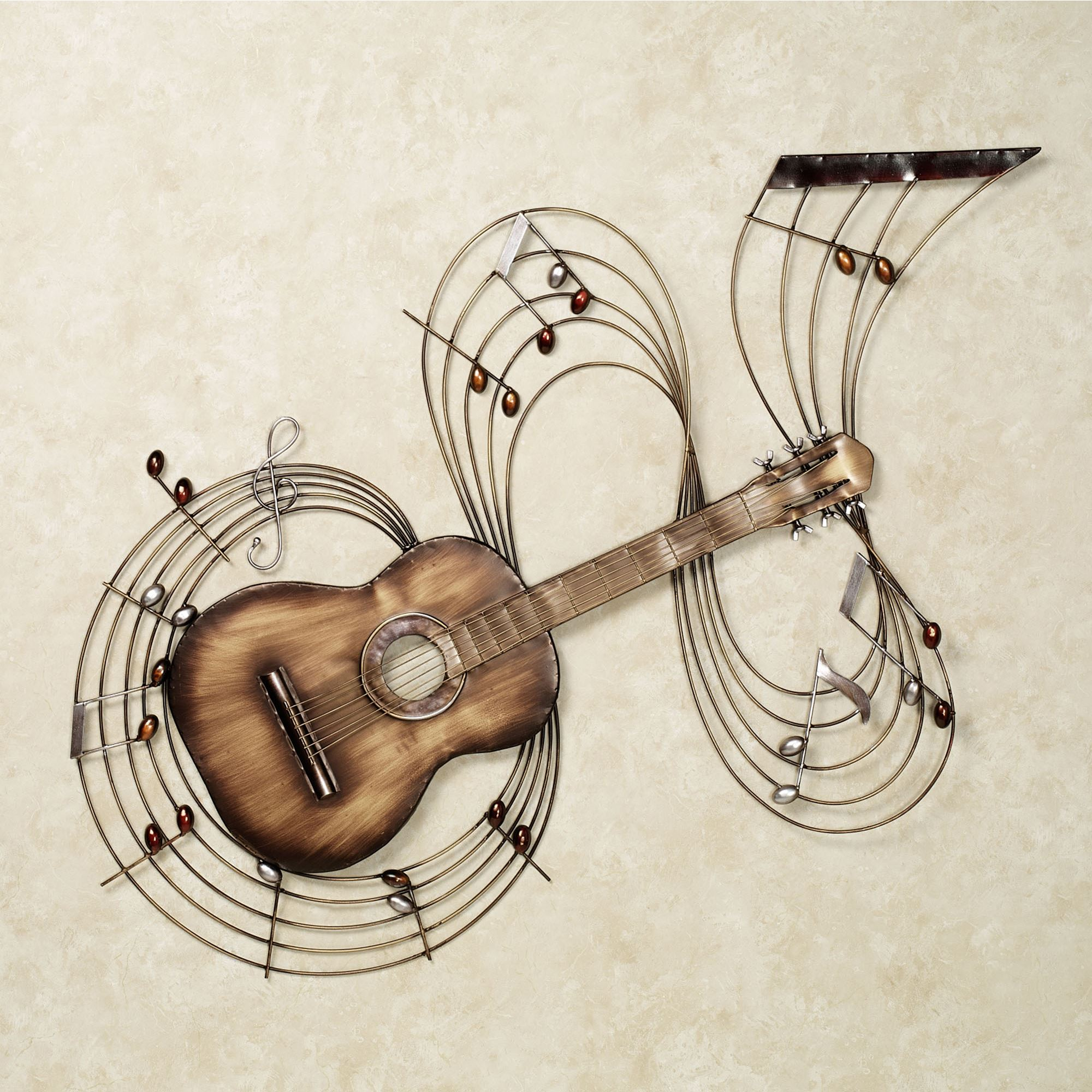 Within the music guitar metal wall art for Bronze wall art