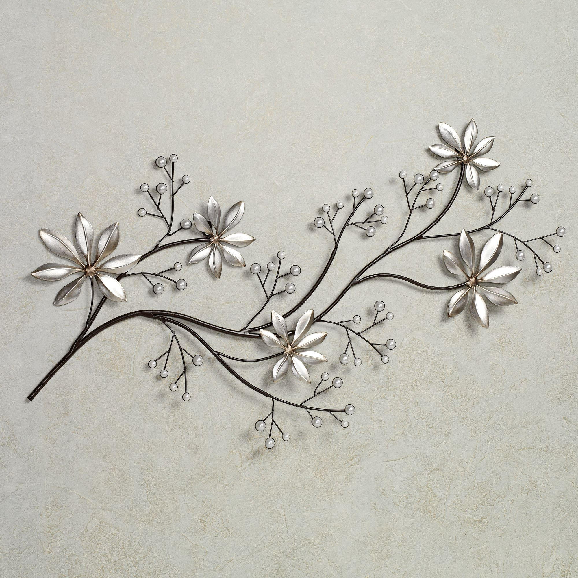 Pearl array floral metal wall art for Art wall decoration