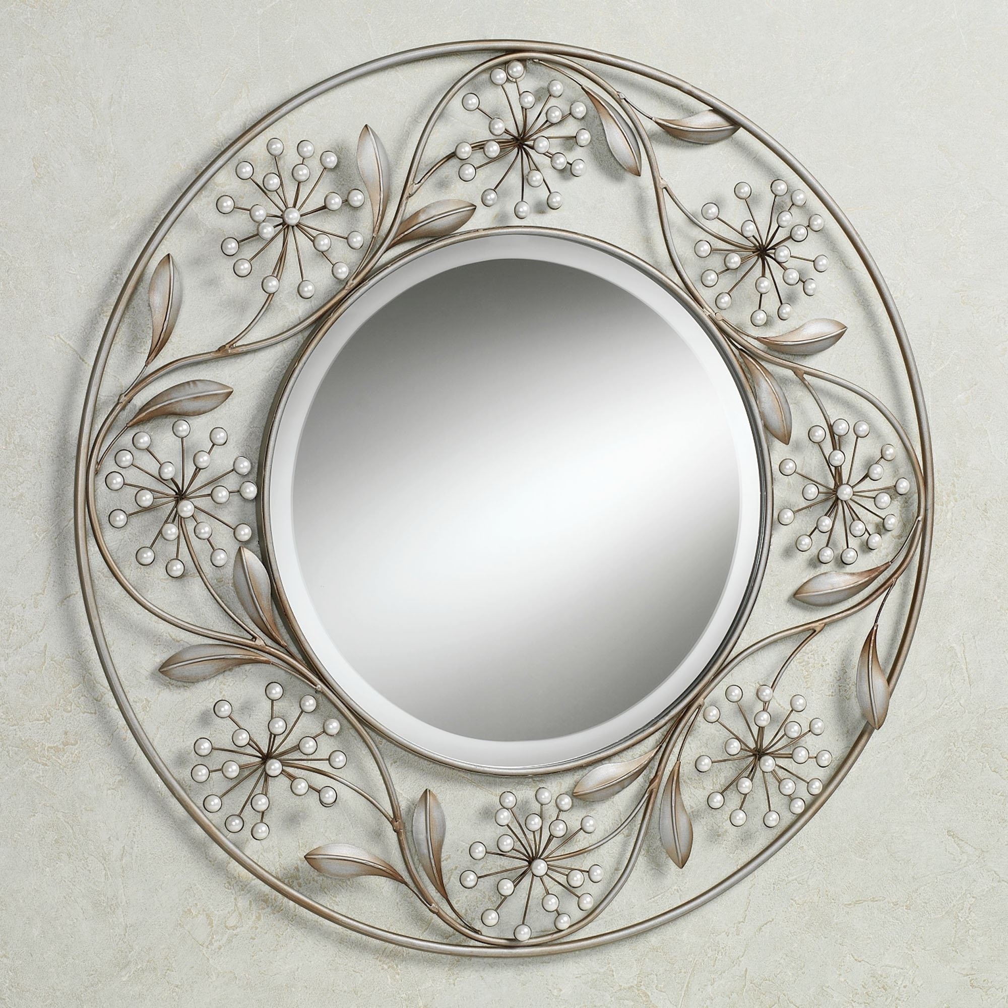 Pearlette round metal wall mirror Round framed mirror