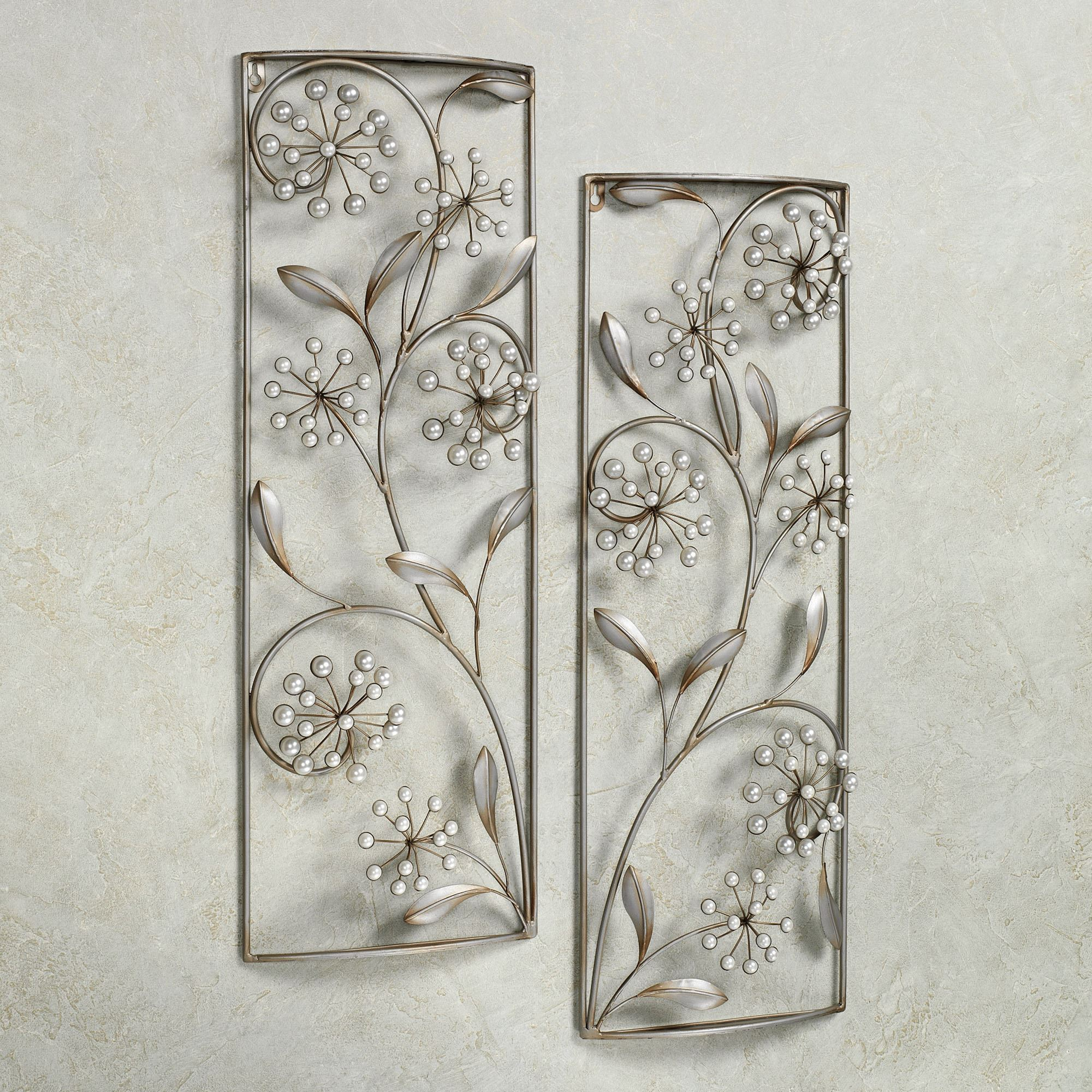 Rectangular Metal Wall Art Gorgeous Pearlette Metal Wall Art Panel Set  Inspiration Design