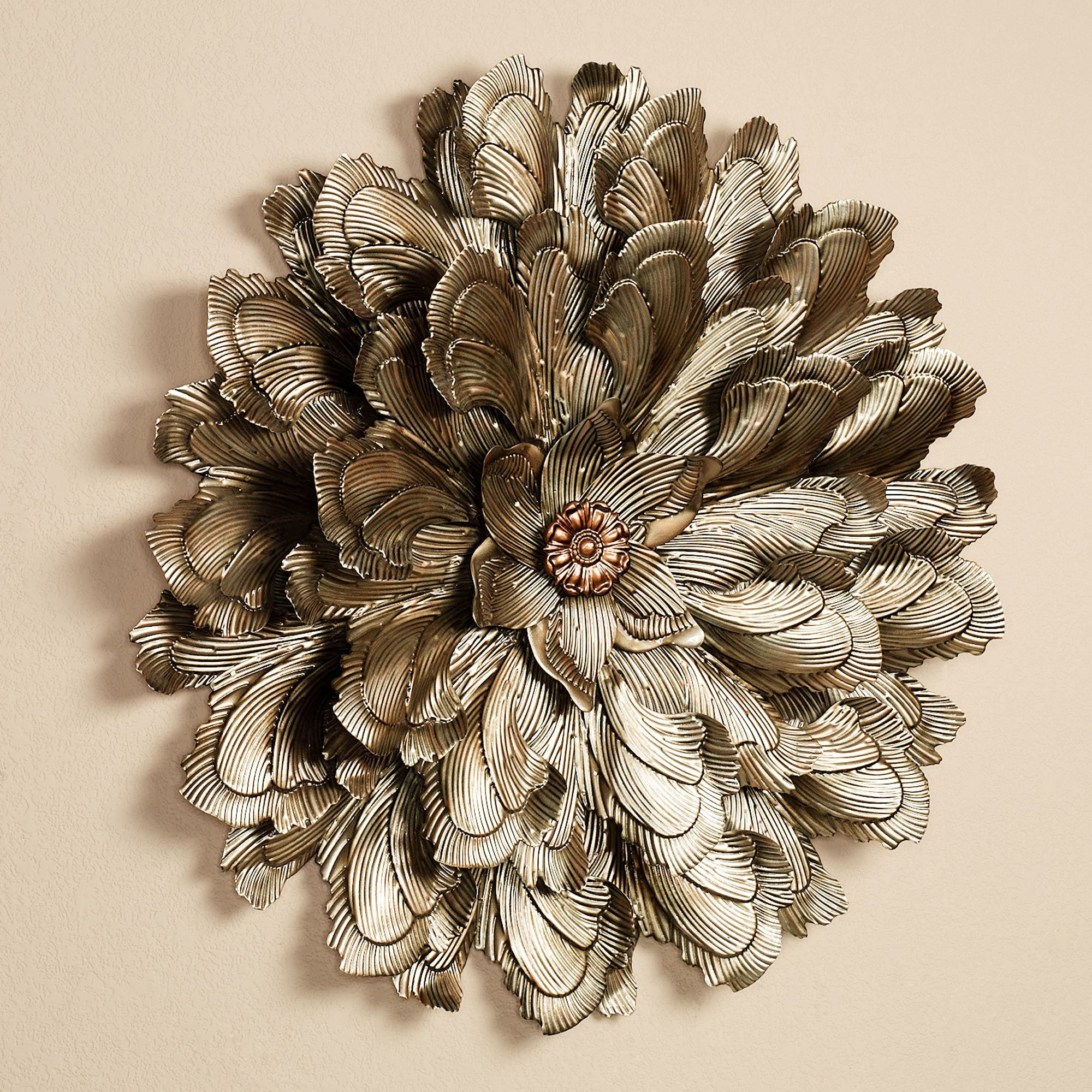 Delicate flower blossom metal wall sculpture for Bronze wall art